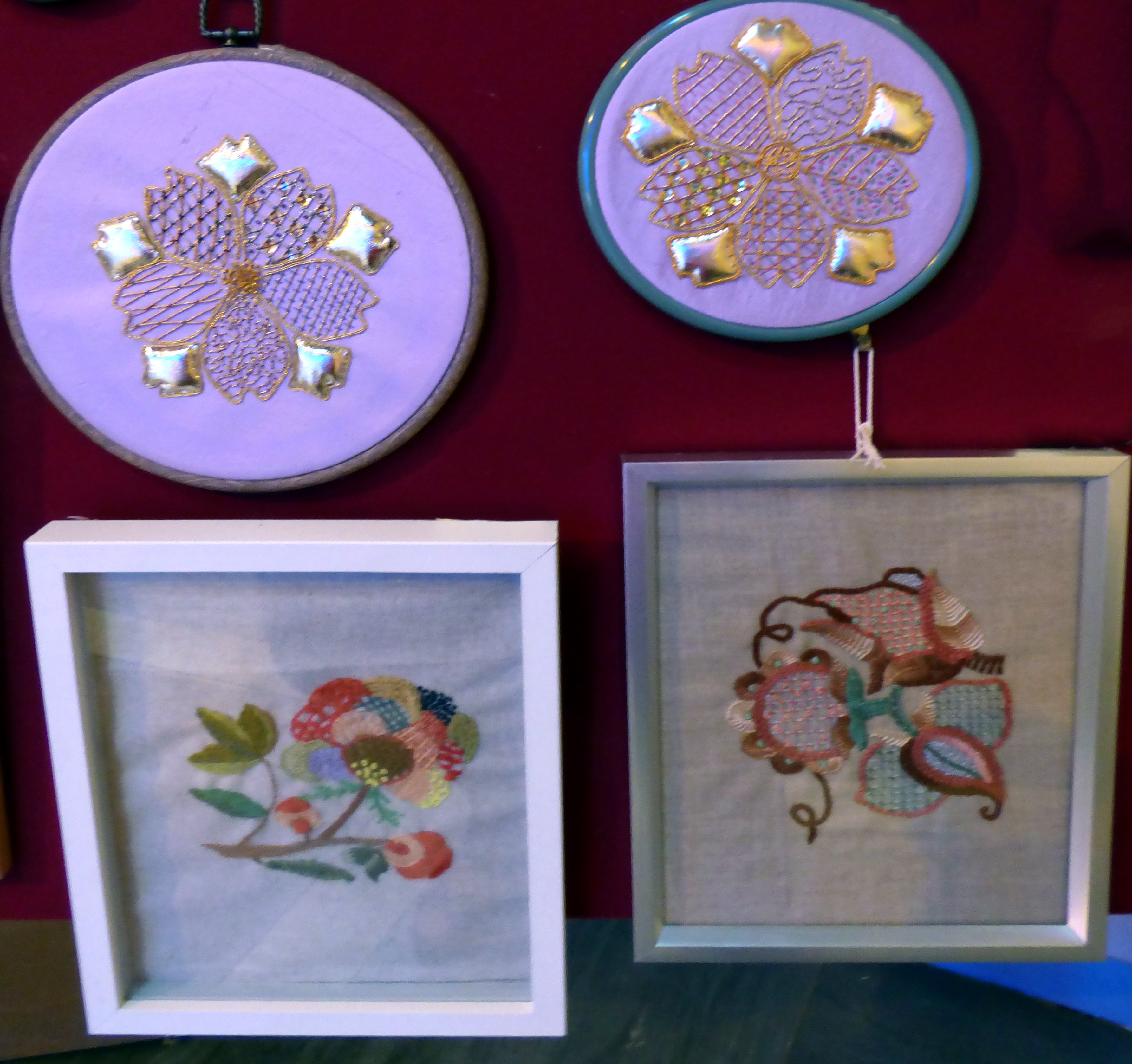 GOLDWORK by A.Kefford, GOLDWORK by J.Felgate, CREWELWORK by V.williams and HAND EMBROIDERY by A.Kefford, at Embroidery for Pleasure exhibition, Liverpool Metropolitan Cathedral 2016
