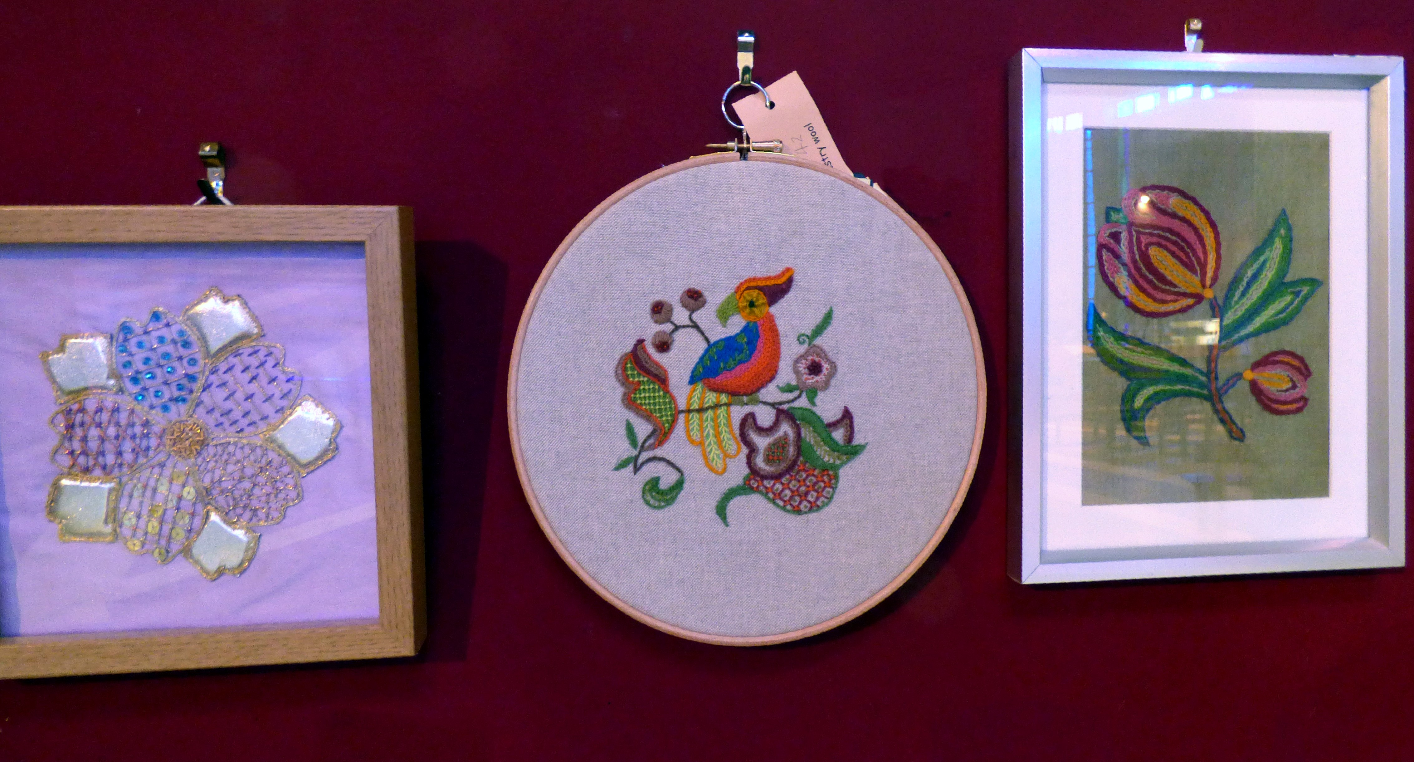 GOLDWORK by J.McParland, CREWELWORK by M.Andrews and ONE STITCH SAMPLER by A.Kefford , at Embroidery for Pleasure exhibition, Liverpool Metropolitan Cathedral 2016