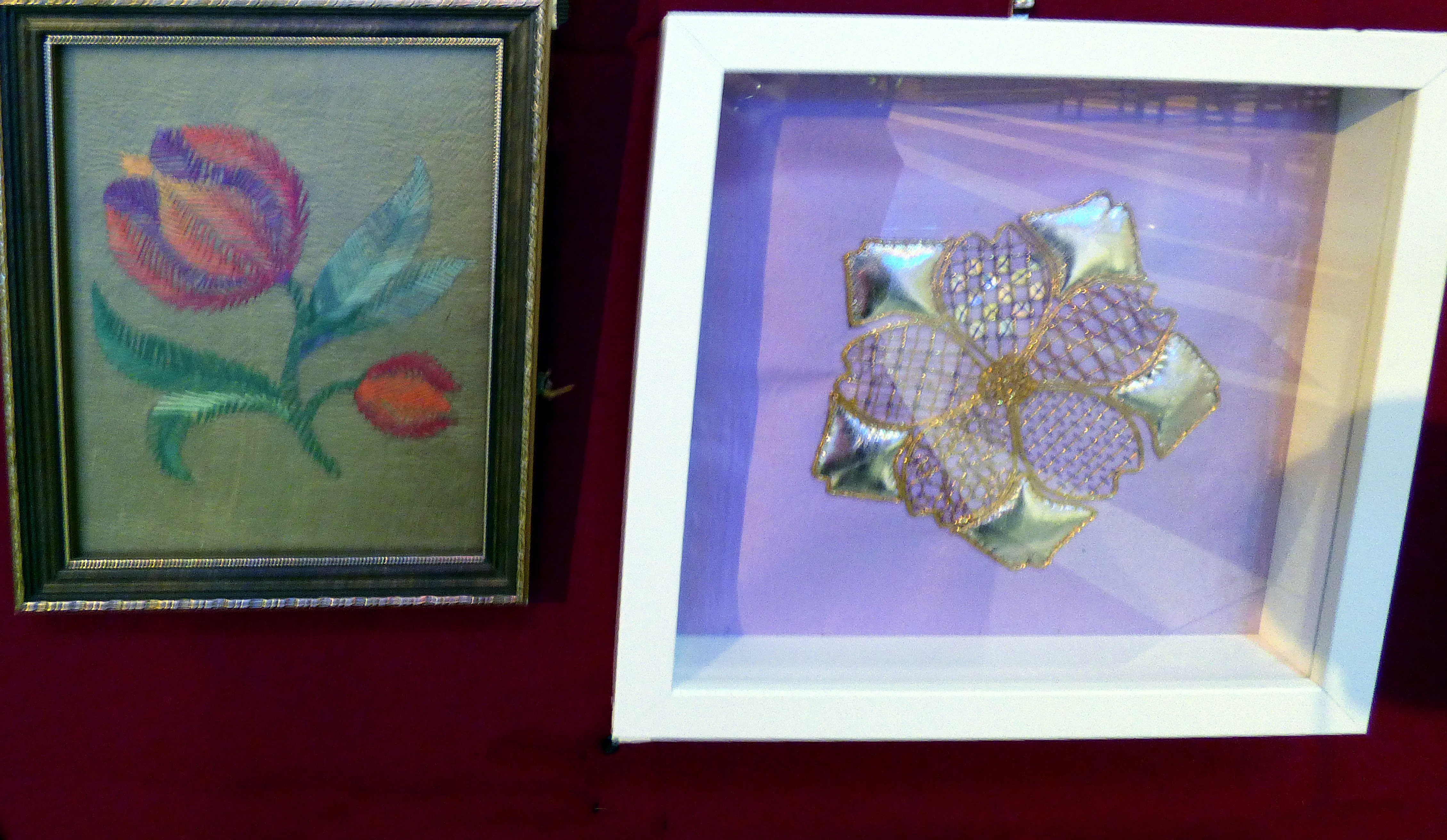 CREWELWORK by F.Trotman and GOLDWORK by S.Maloney , at Embroidery for Pleasure exhibition, Liverpool Metropolitan Cathedral 2016