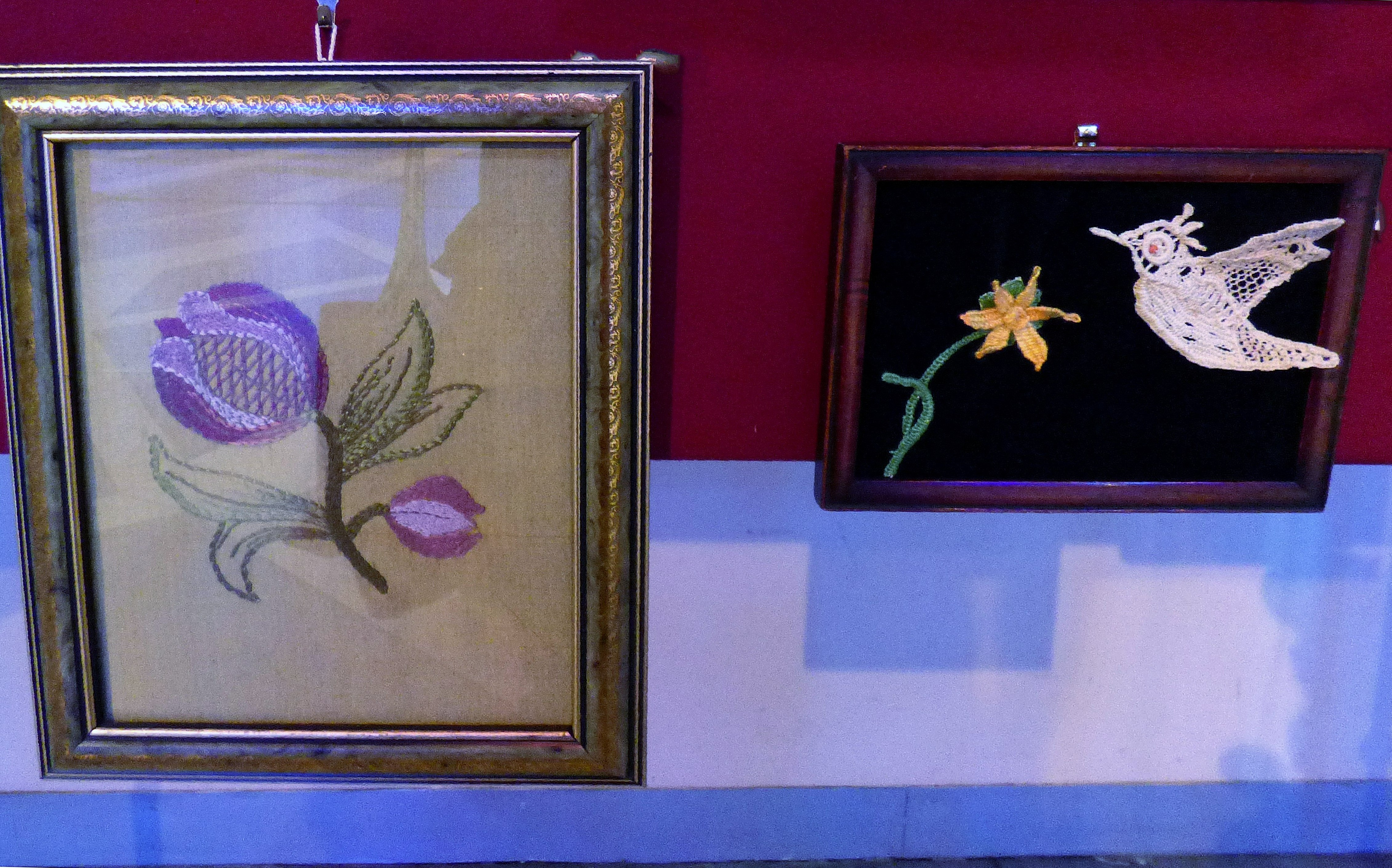 CREWELWORK by J.McParland and NEEDLE LACE by J.McParland , at Embroidery for Pleasure exhibition, Liverpool Metropolitan Cathedral 2016