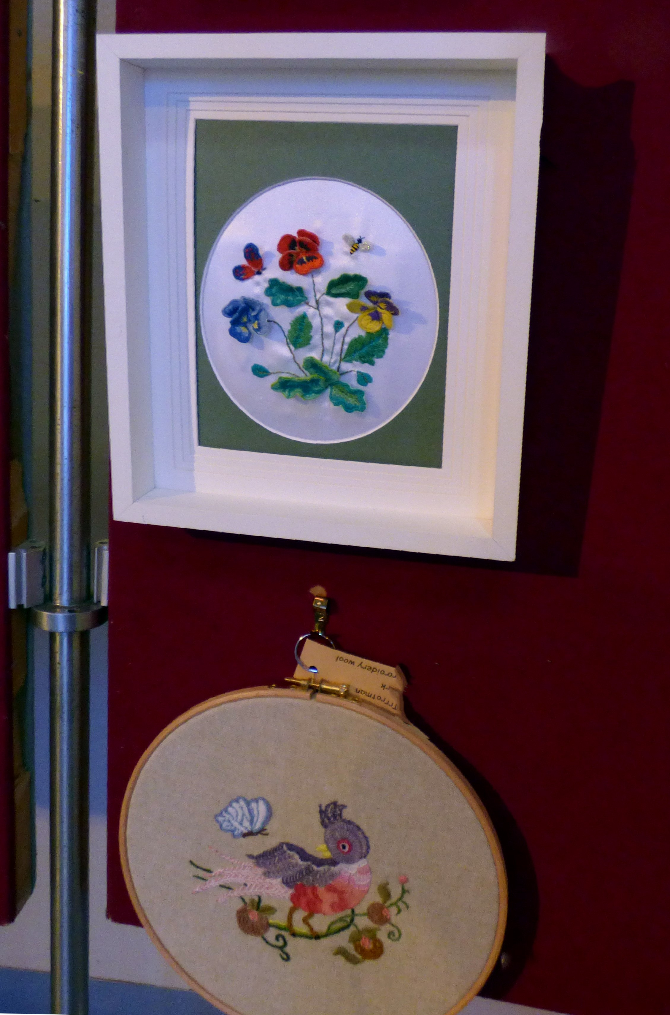 STUMPWORK by K.Green and CREWELWORK by F.Trotman, at Embroidery for Pleasure exhibition, Liverpool Metropolitan Cathedral 2016