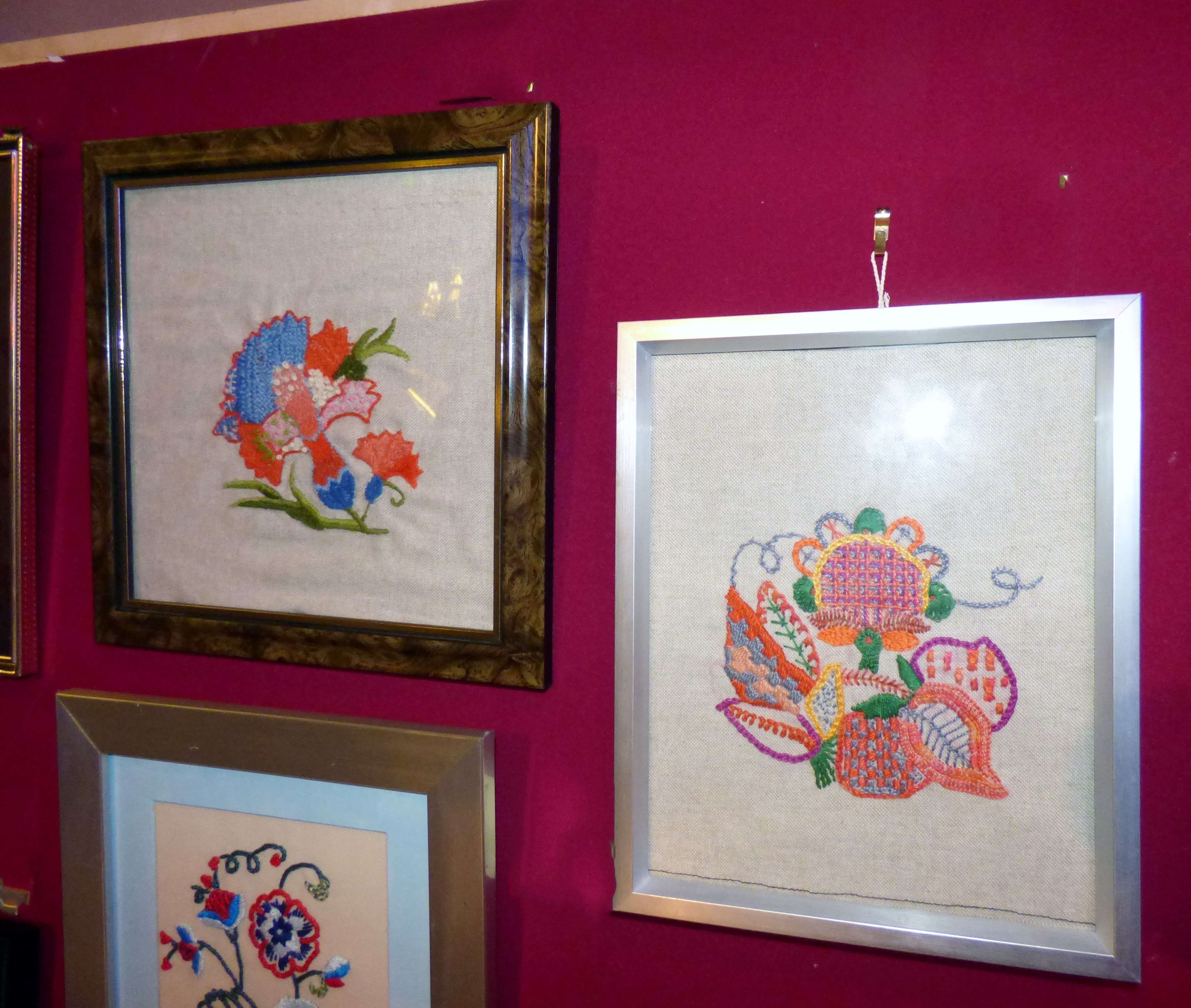 CREWELWORK by F.Trotman, CREWELWORK by A.Kefford and CREWELWORK by K.Green, at Embroidery for Pleasure exhibition, Liverpool Metropolitan Cathedral 2016