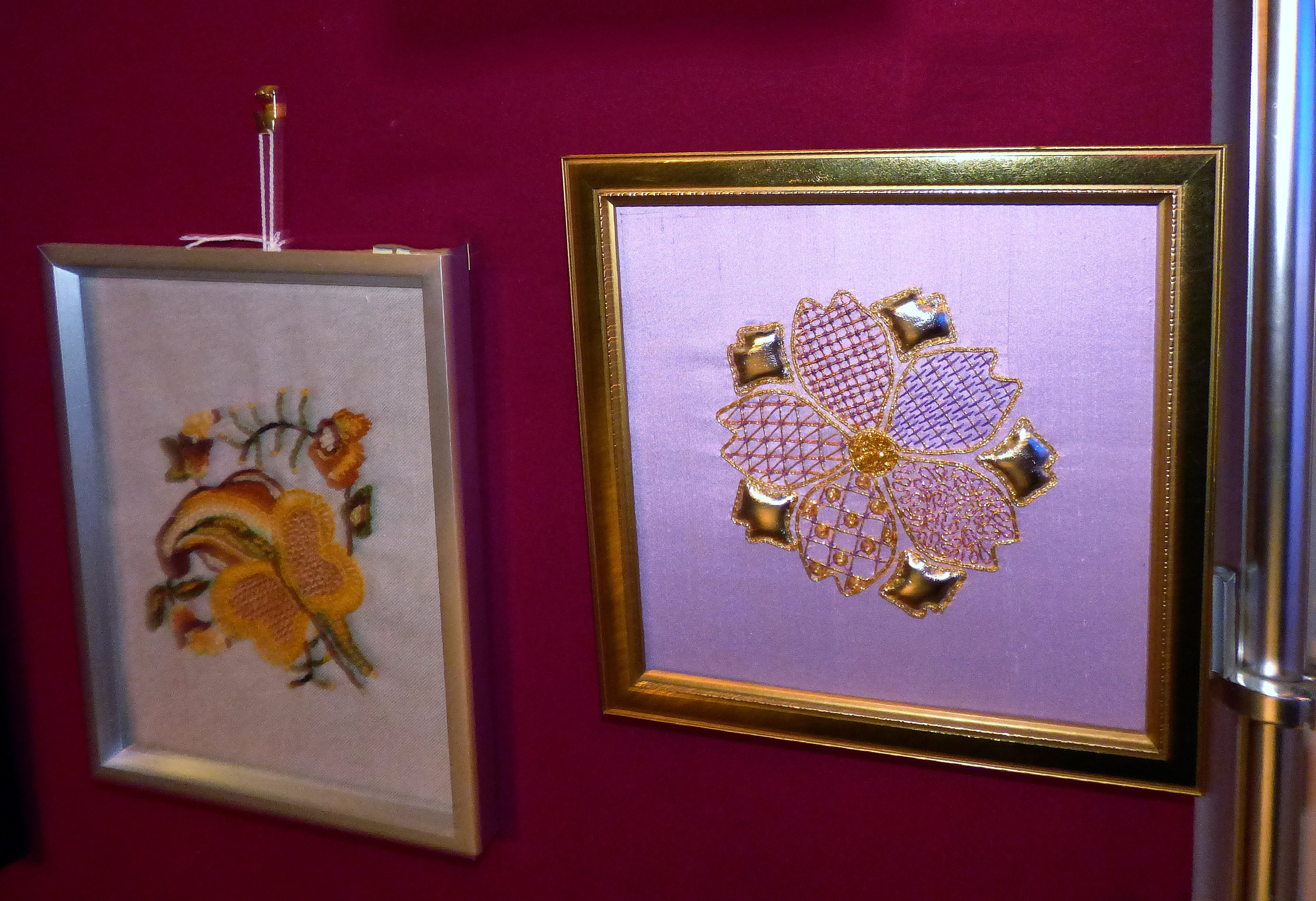 CREWELWORK by F.Trotman and GOLDWORK by H.McCormack, at Embroidery for Pleasure exhibition, Liverpool Metropolitan Cathedral 2016