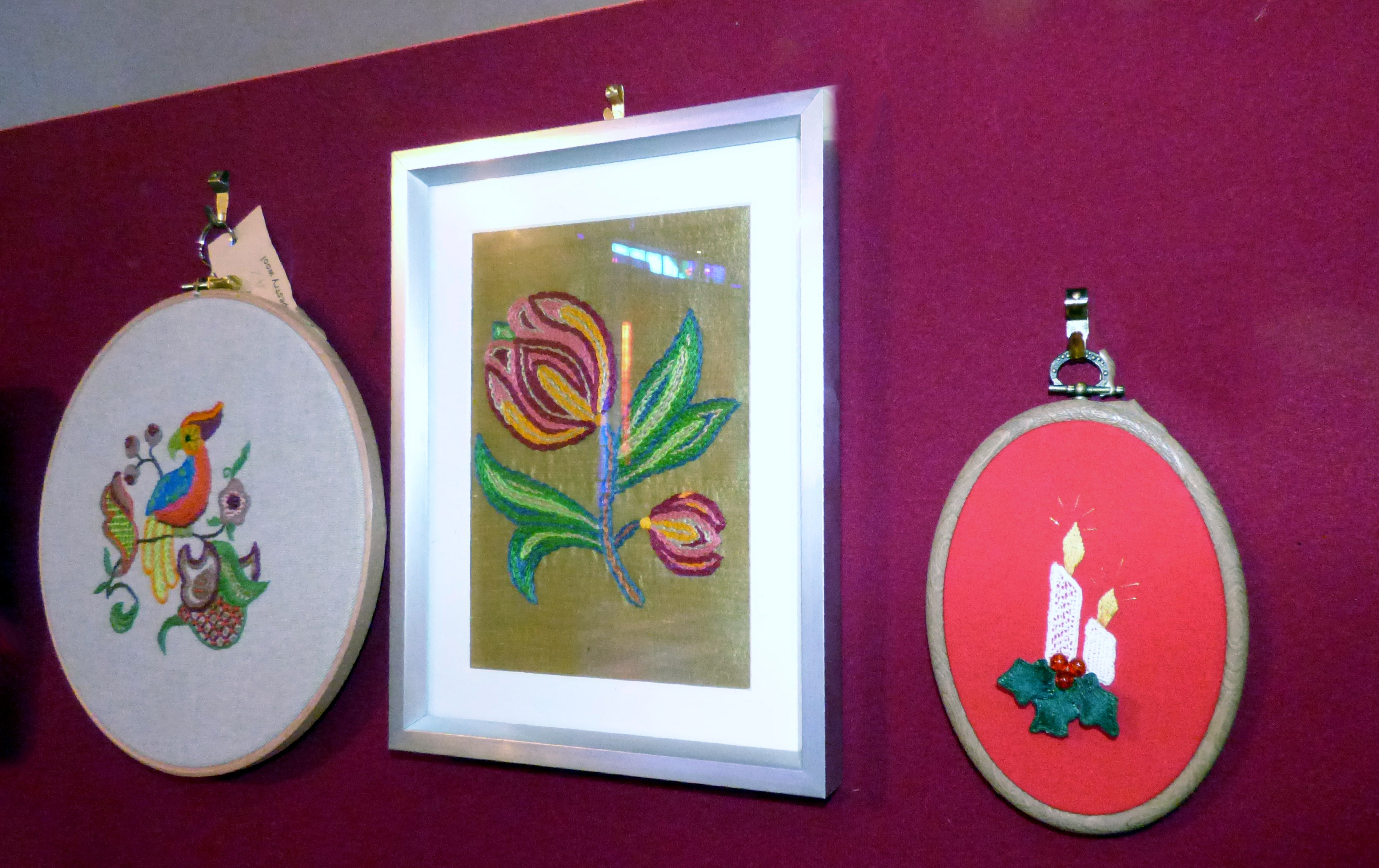 CREWELWORK by M.Andrews, ONE STITCH SAMPLER by A.Kefford and NEEDLE LACE by J.McParland, at Embroidery for Pleasure exhibition, Liverpool Metropolitan Cathedral 2016
