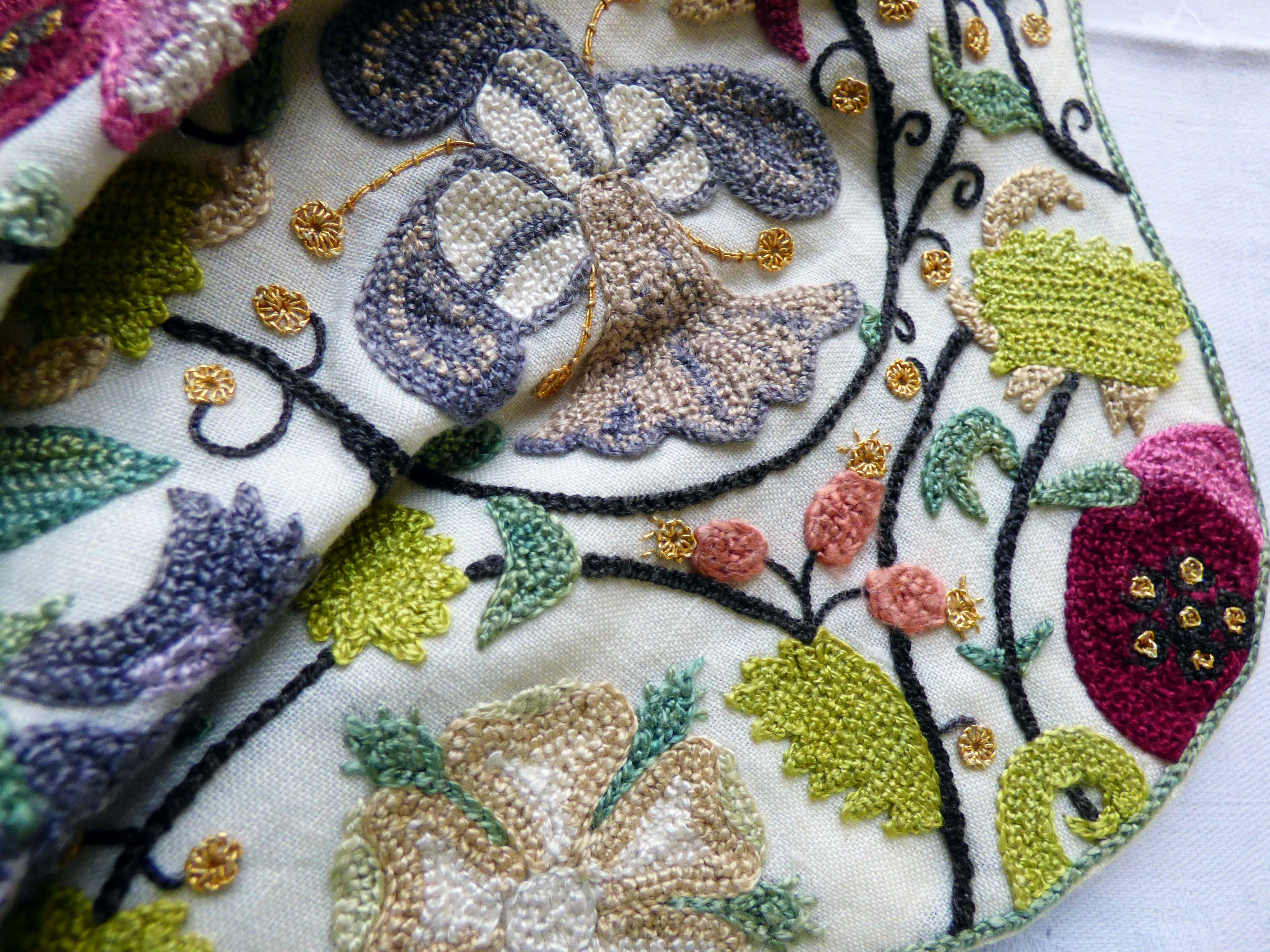 close up of embroidery by Carolyn  Richardson, Embroidery of the Jacobean era, Jan 2019