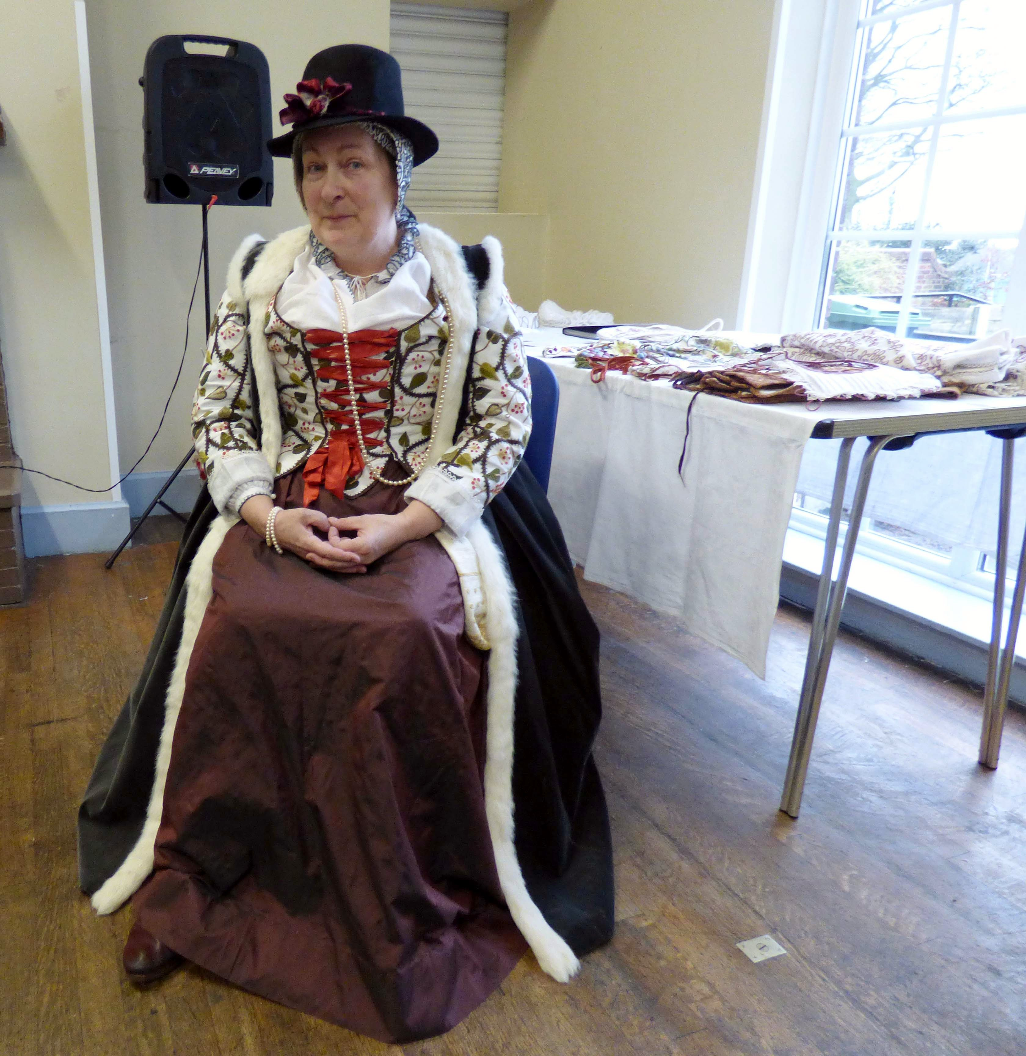 Carolyn Richardson in Jacobean dress, Embroidery of a Jacobean Lady TALK at Merseyside Embroiderers Guild, Jan 2019