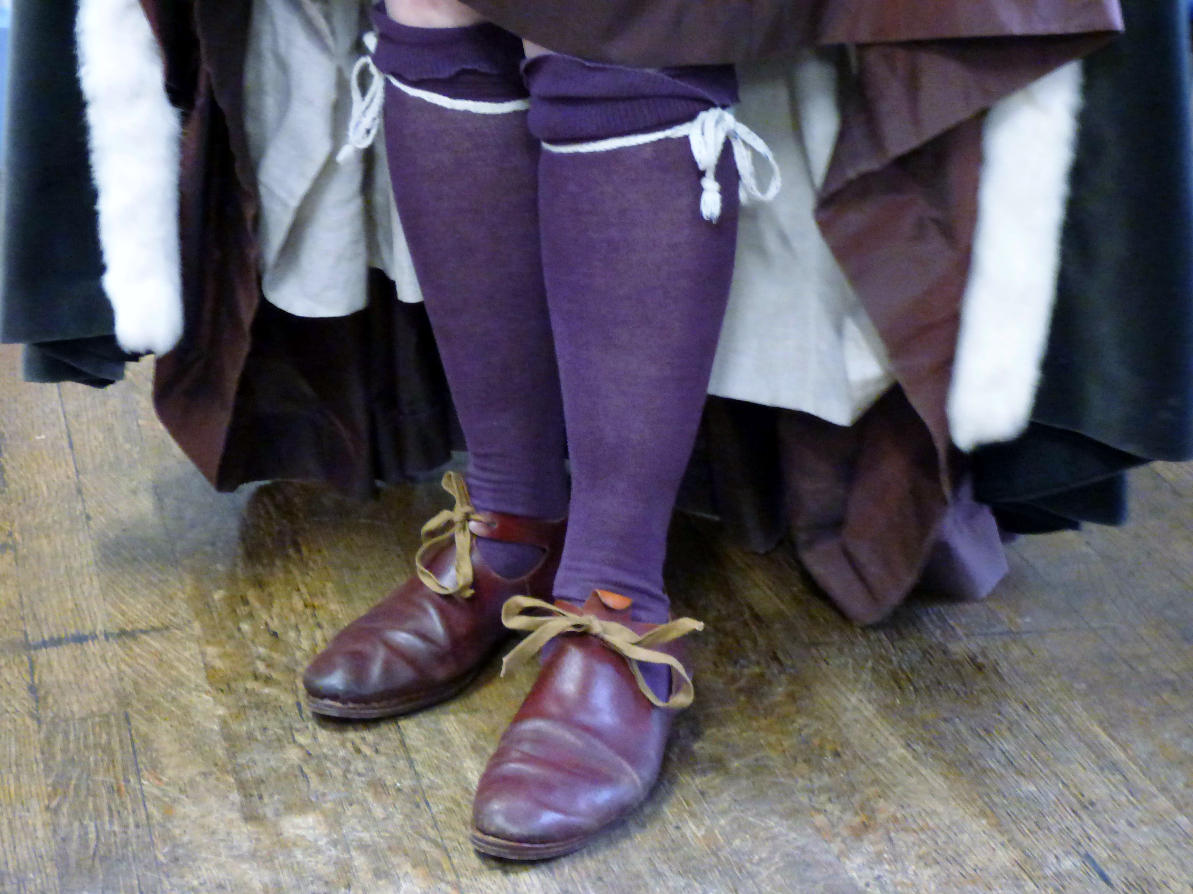 """Carolyn  Richardson with hose and hand made shoes, """"Embroidery of a Jacobean Lady"""" Talk by Caroline Richardson, Jan 2019"""