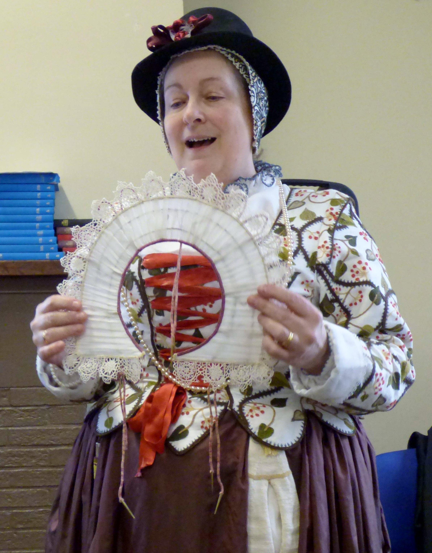 "Carolyn  is showing us a Rebato, ""Embroidery of a Jacobean Lady"" Talk by Caroline Richardson, Jan 2019"