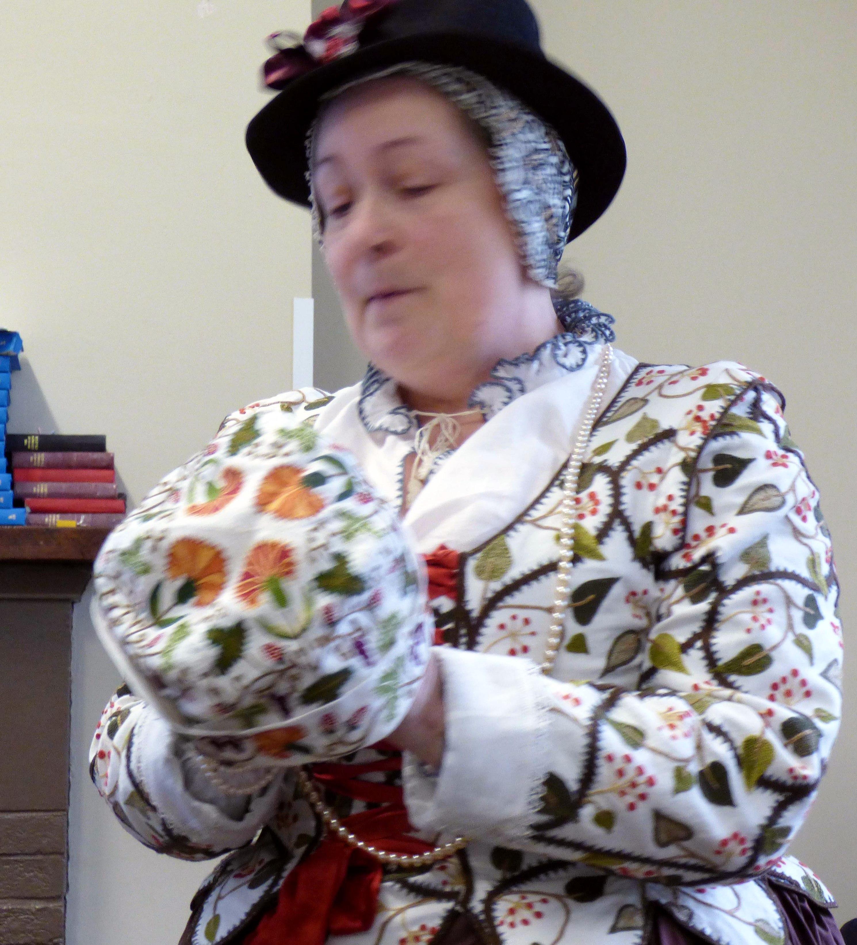"Carolyn  Richardson showing us a gentleman's Day Cap, ""Embroidery of a Jacobean Lady"" Talk by Caroline Richardson, Jan 2019"