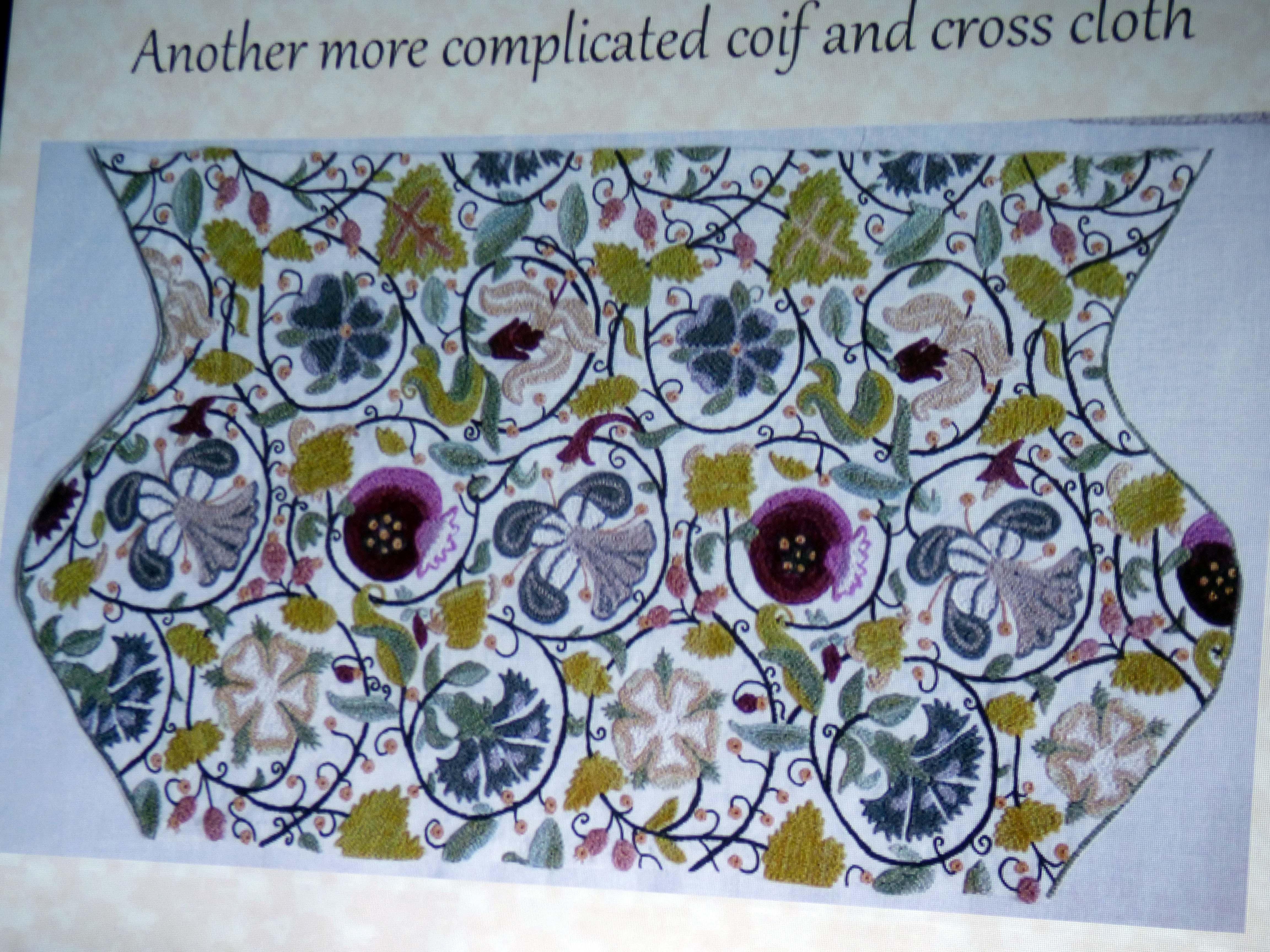 "slide by Carolyn  Richardson, ""Embroidery of a Jacobean Lady"" Talk by Caroline Richardson, Jan 2019"