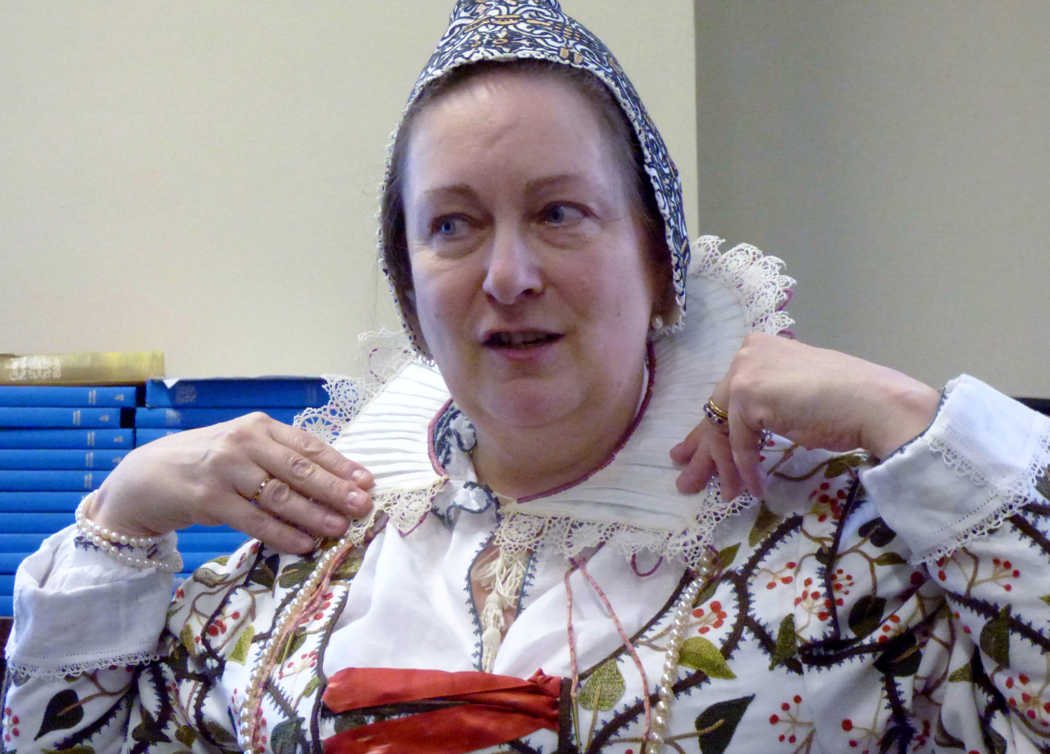 "Carolyn  Richardson wearing a Rebato collar, ""Embroidery of a Jacobean Lady"" Talk by Caroline Richardson, Jan 2019"