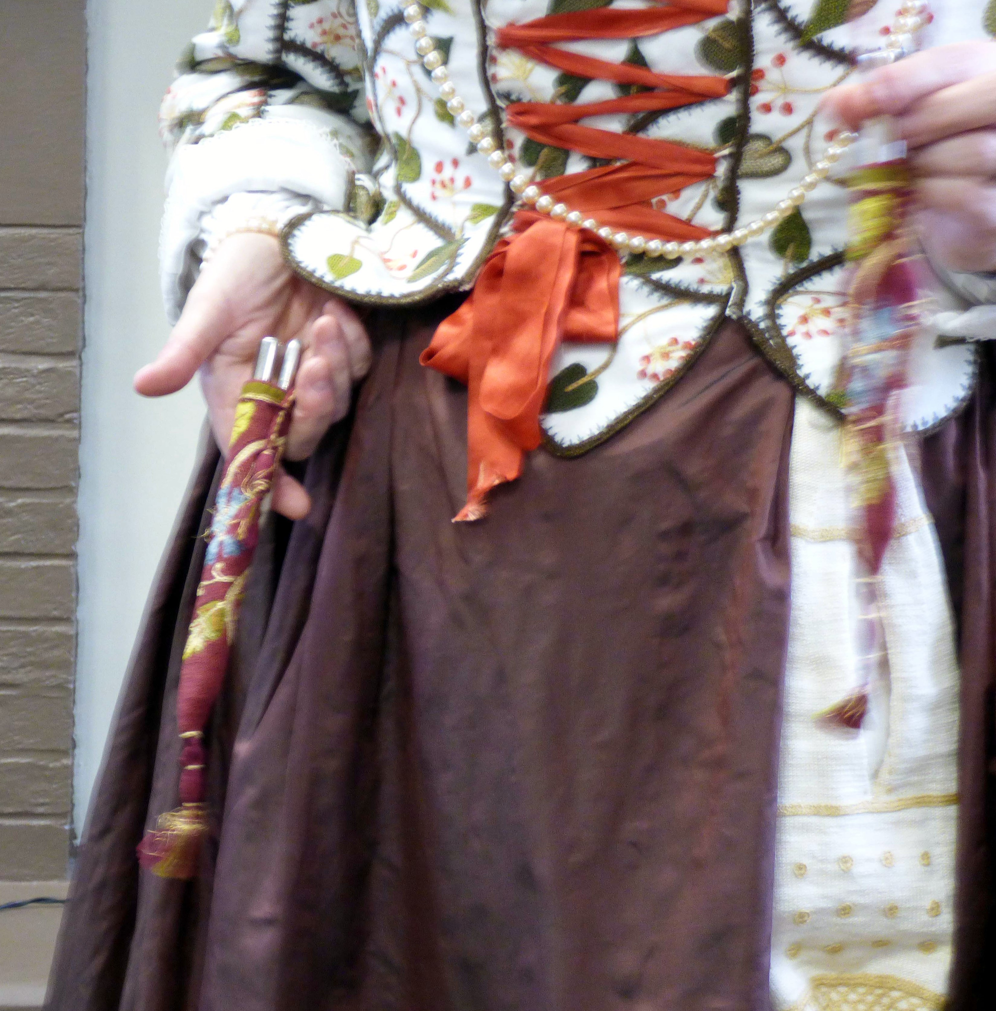 """Carolyn  Richardson is showing us her embroidered knife case, """"Embroidery of a Jacobean Lady"""" Talk by Caroline Richardson, Jan 2019"""