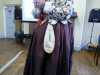"""Carolyn  Richardson with a knitted hanging pocket, """"Embroidery of a Jacobean Lady"""" Talk by Caroline Richardson, Jan 2019"""