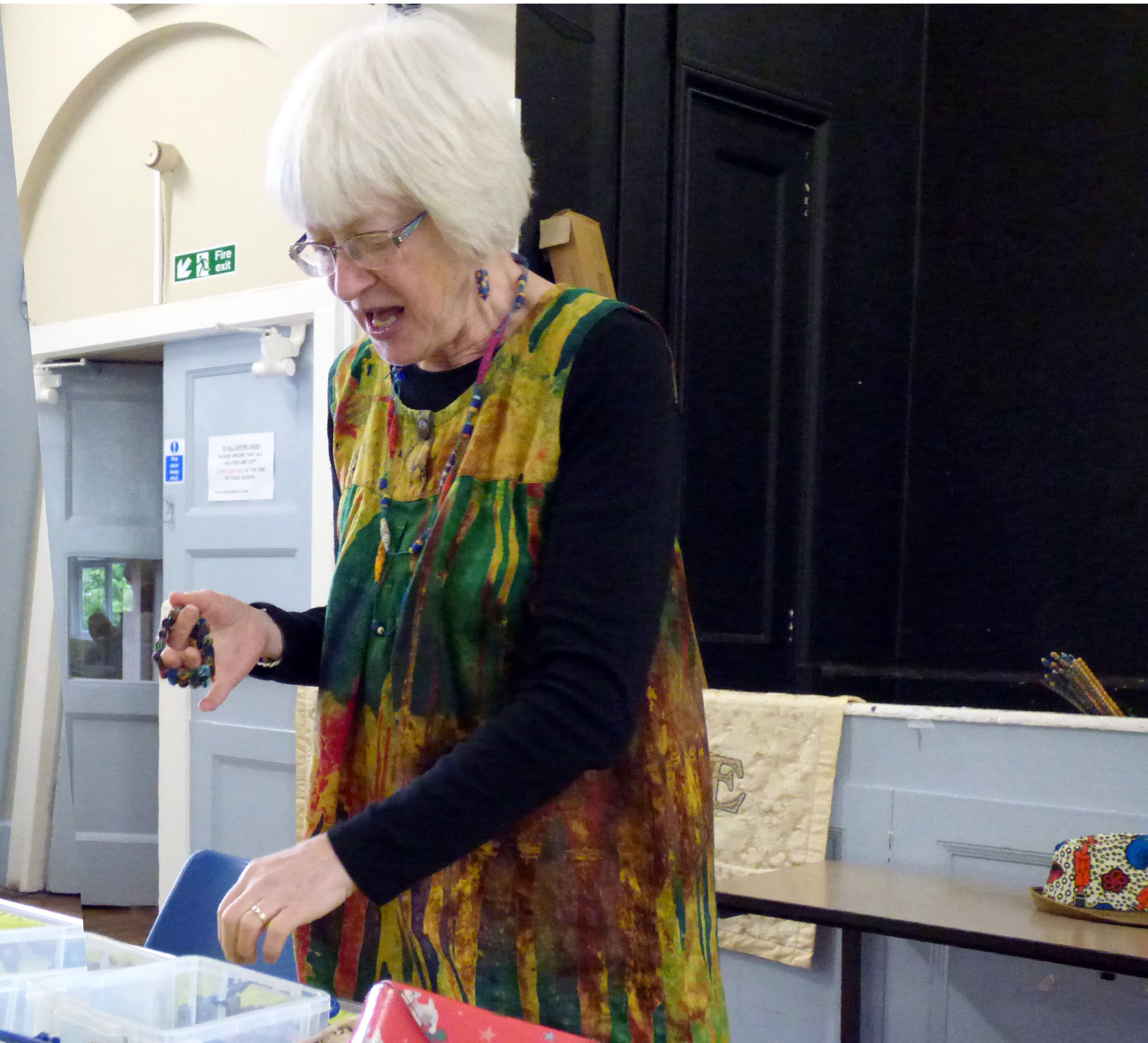 """Magie Relph at MEG with """"Fabric Beadmaking Workshop 2019"""