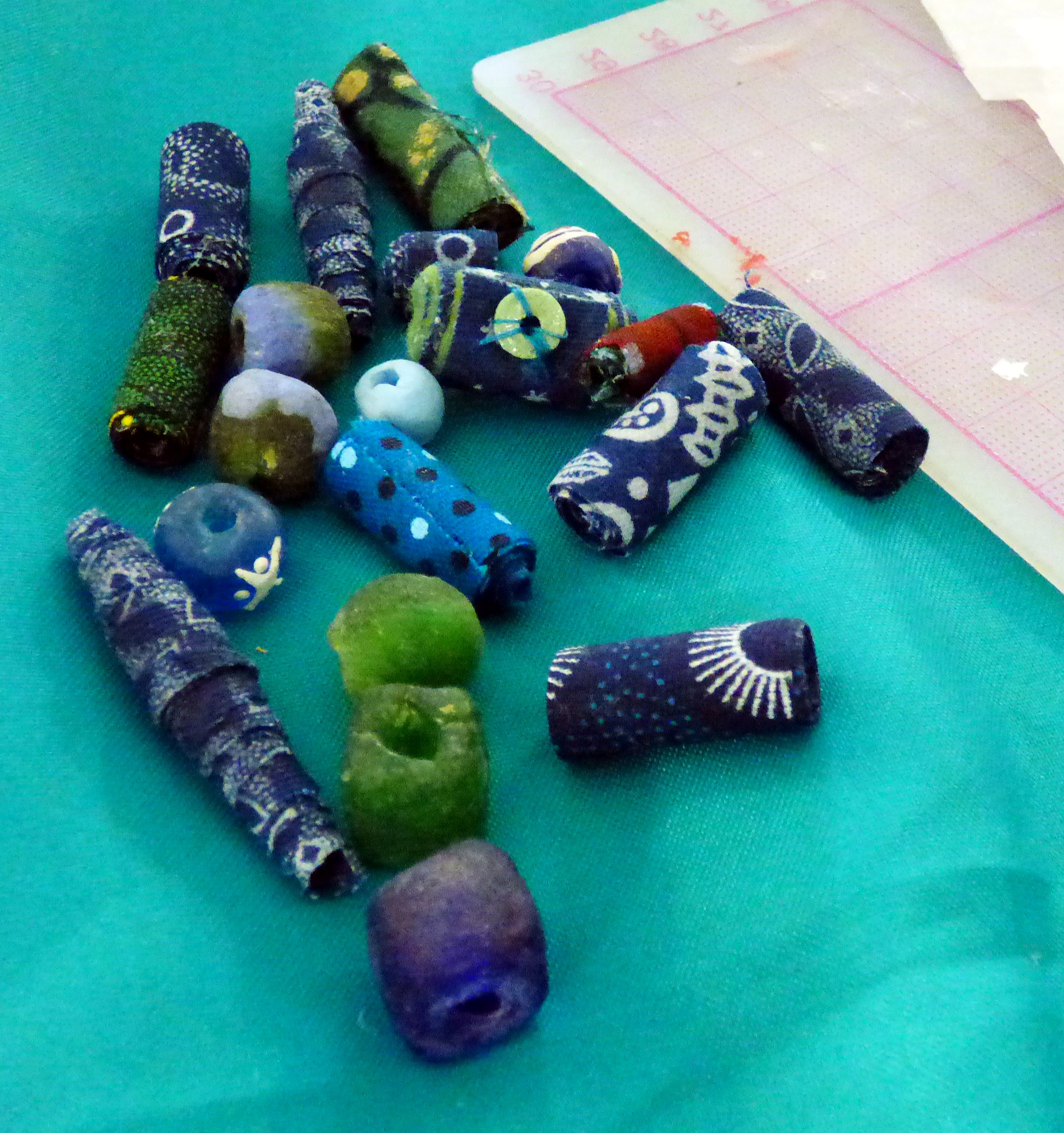 student's work at Fabric Beadmaking workshop with Magie Relph 2019