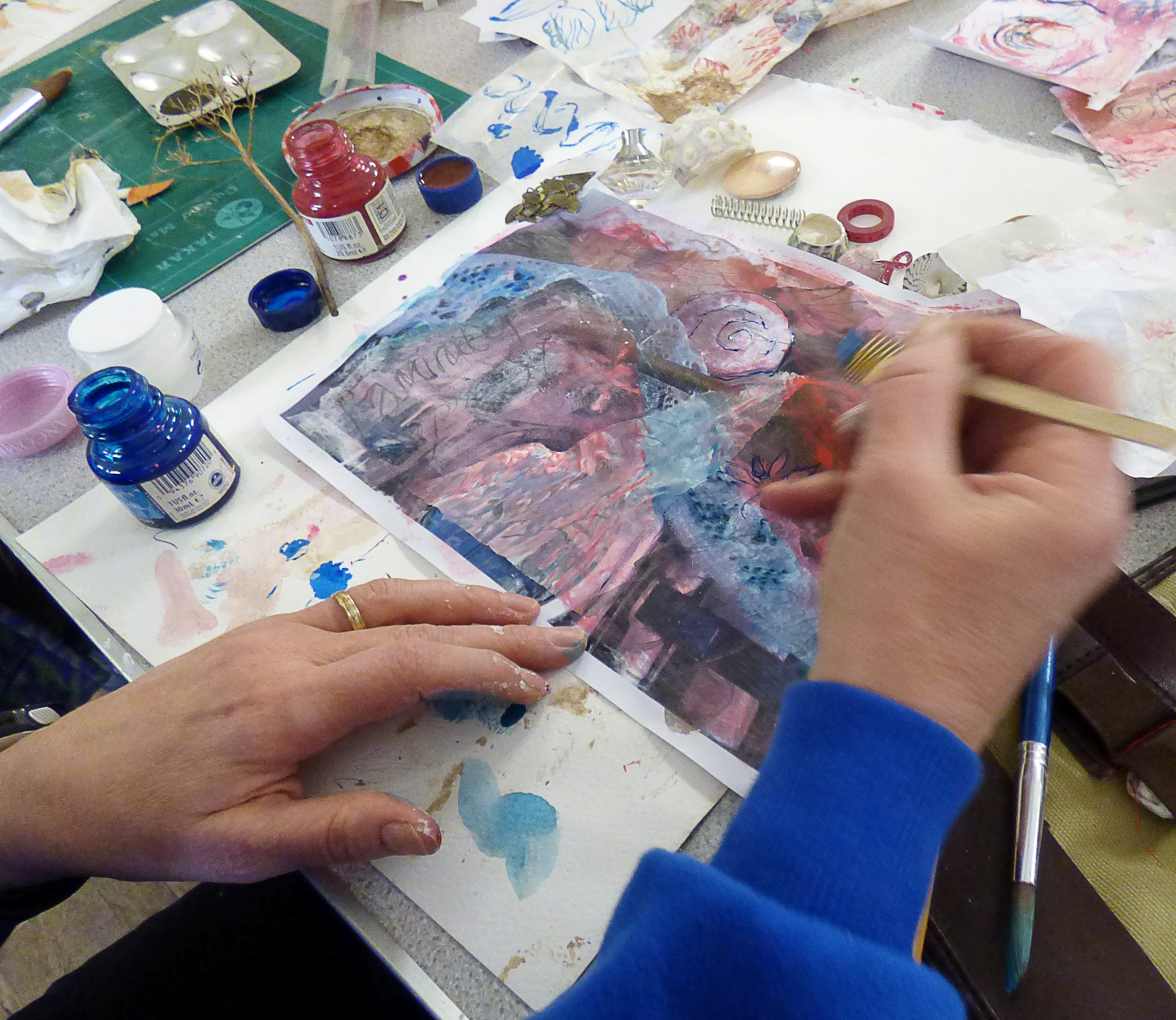 "students work at ""Fabulous Fragments"" workshop with Shelley Rhodes 2017"