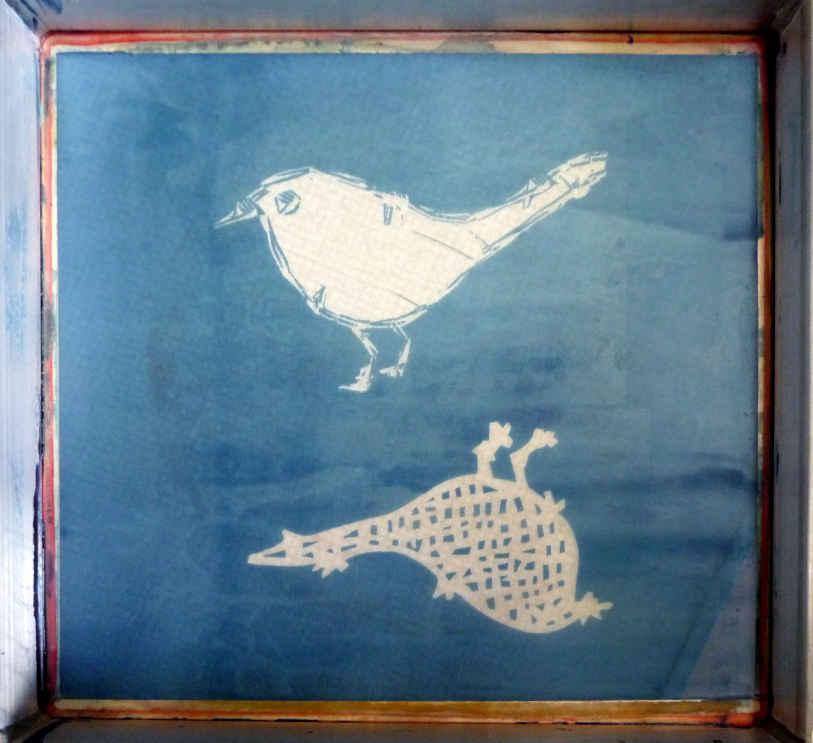 screen prepared for printing with two bird images by Christine Toh