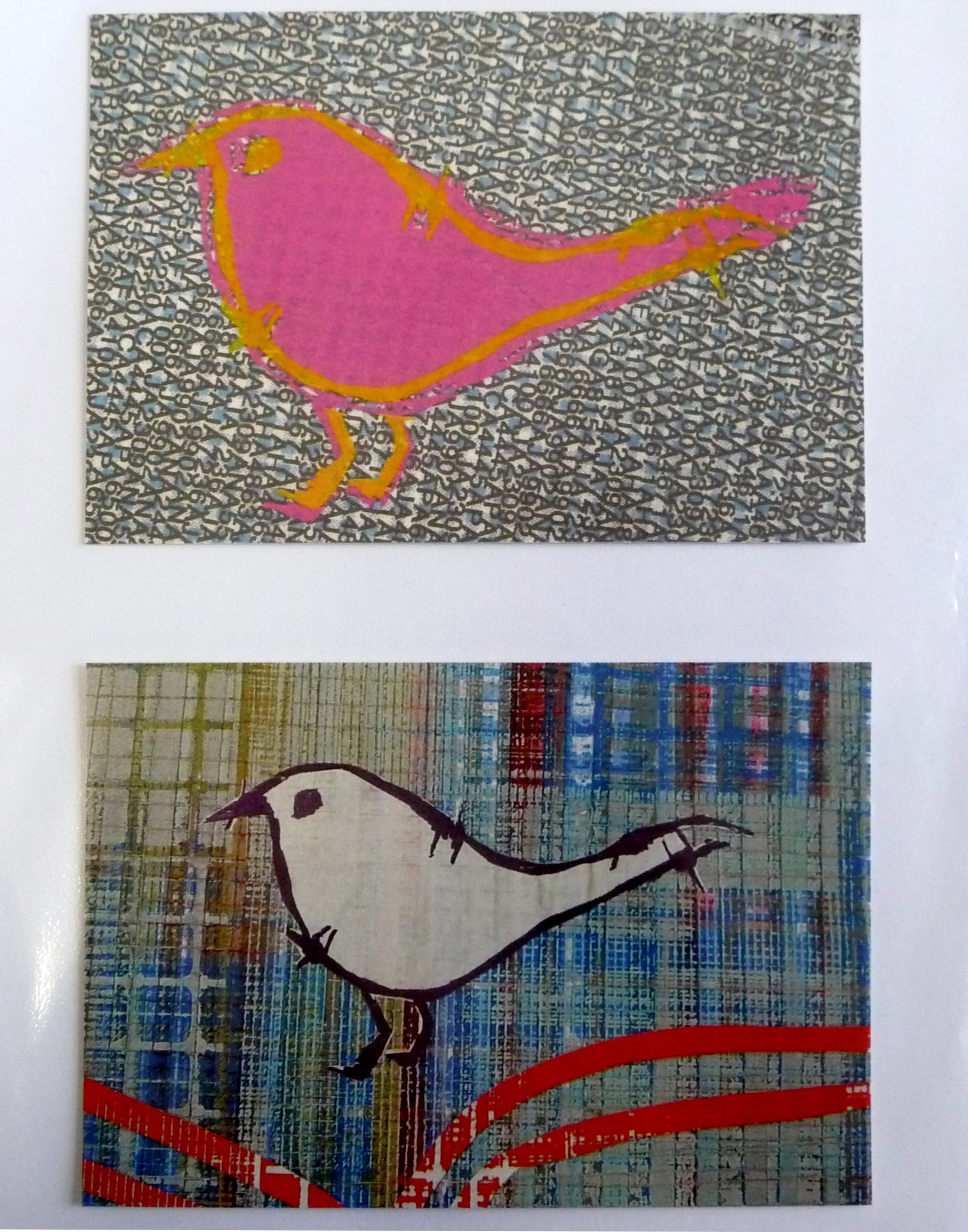 bird image screen printed on textile by Christine Toh
