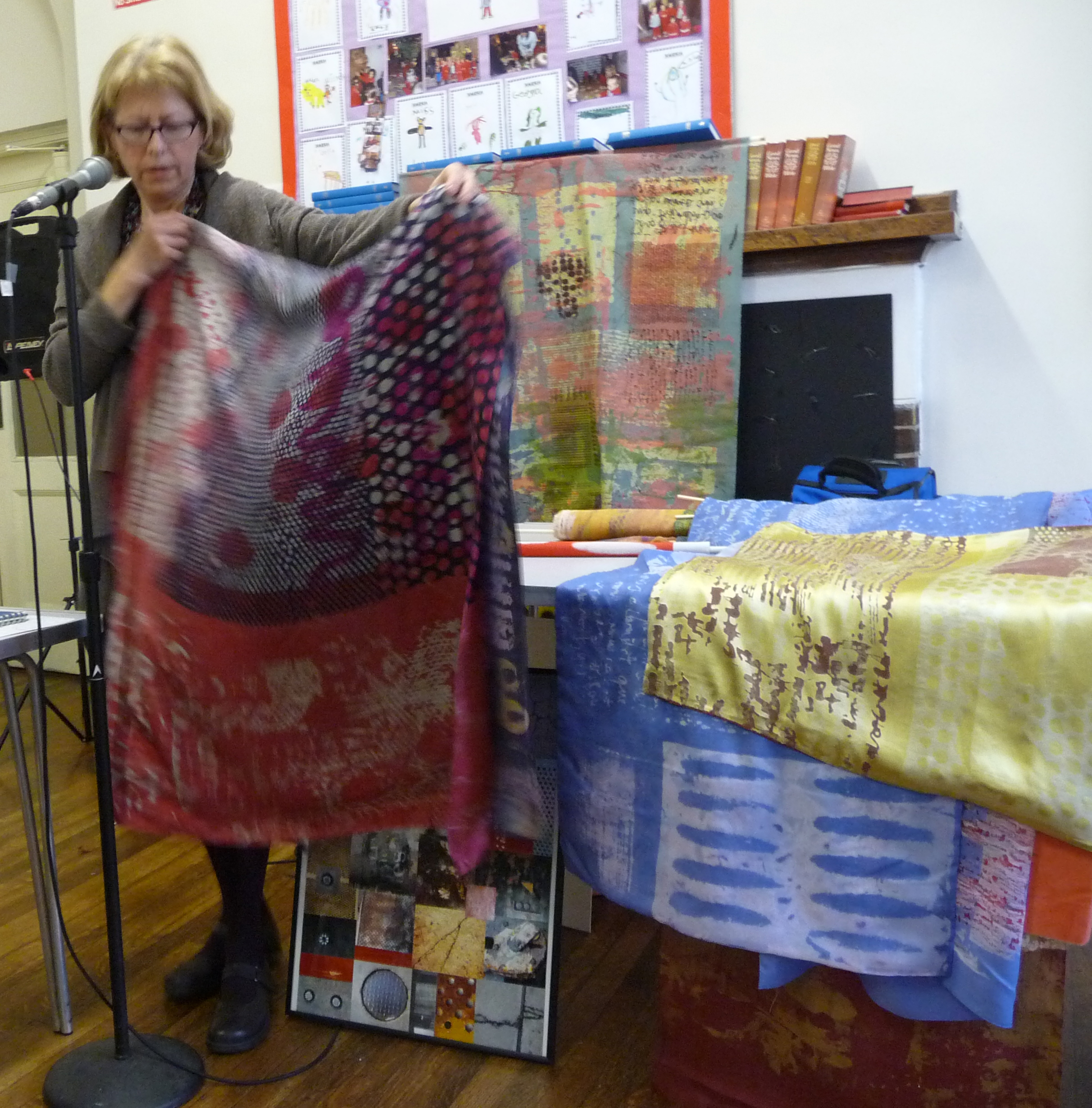 Christine Toh displaying one of her textile pieces