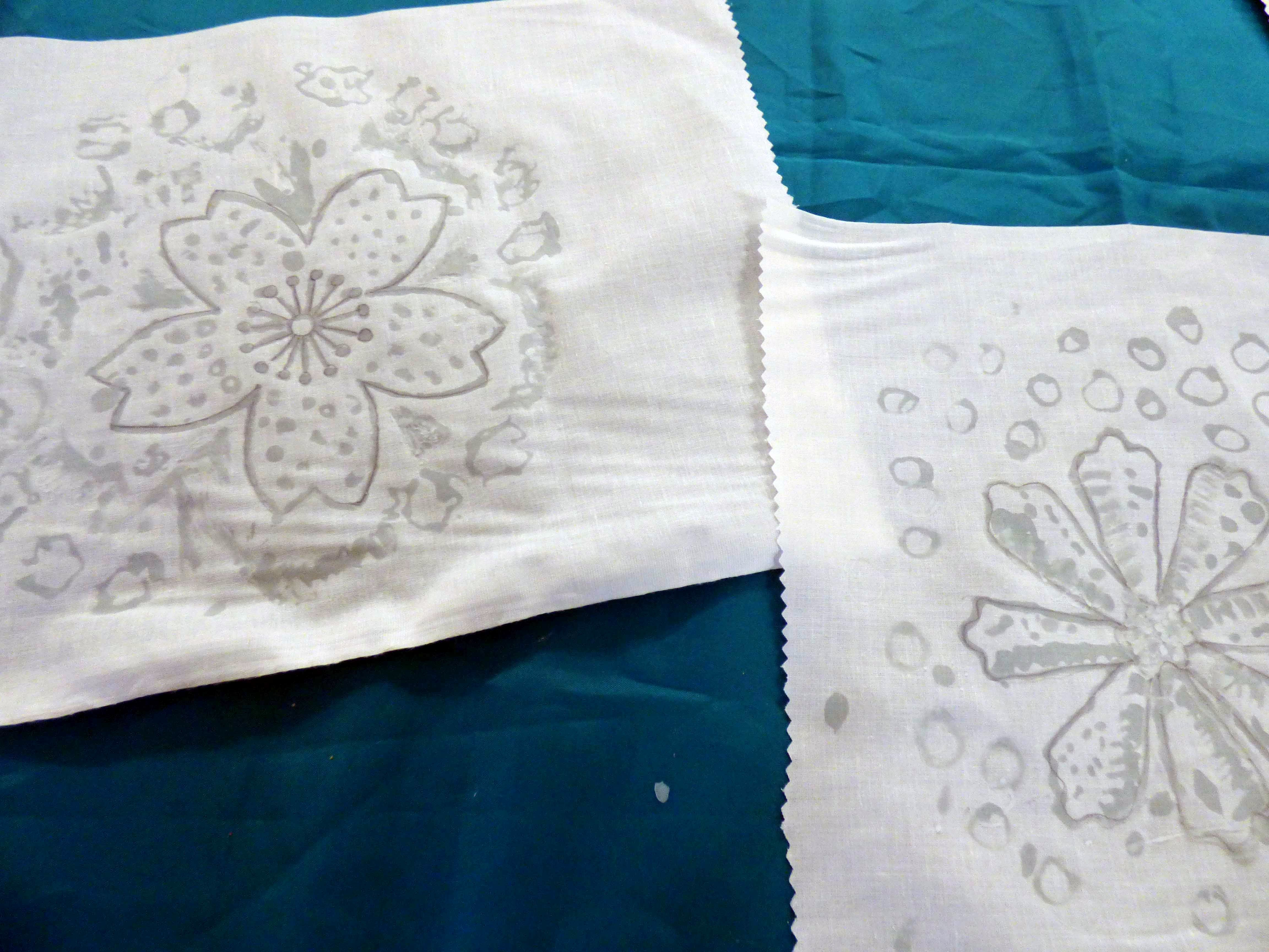 """student's work with wax applied at  """"A Taste of Indonesian Batik"""" workshop with Victoria Riley, Feb 2020"""