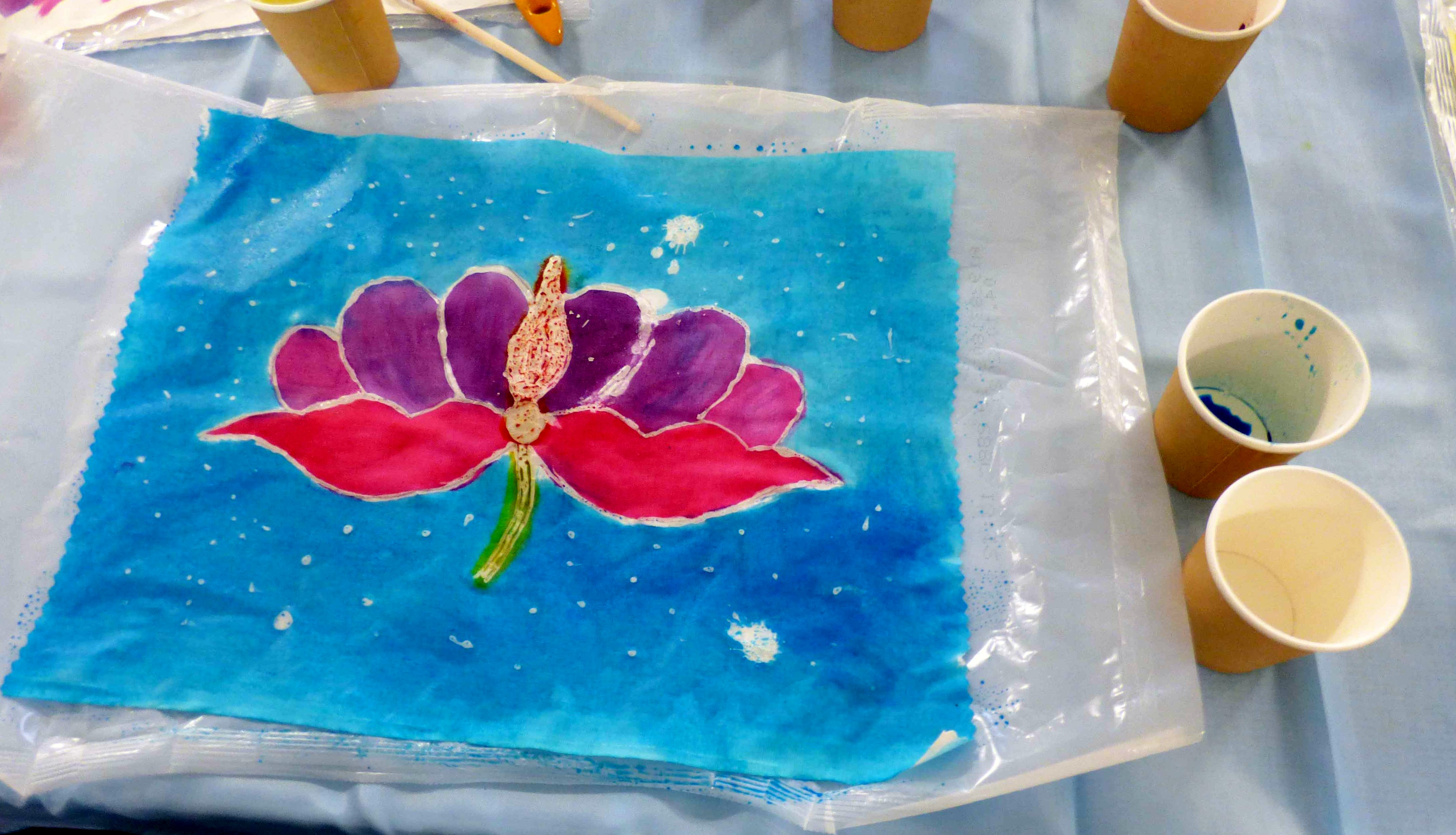 """student's work in progress at """"A Taste of Indonesian Batik"""" workshop with Victoria Riley, Feb 2020"""