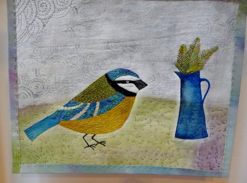 BLUE TIT WITH FERNS - miniature quilt