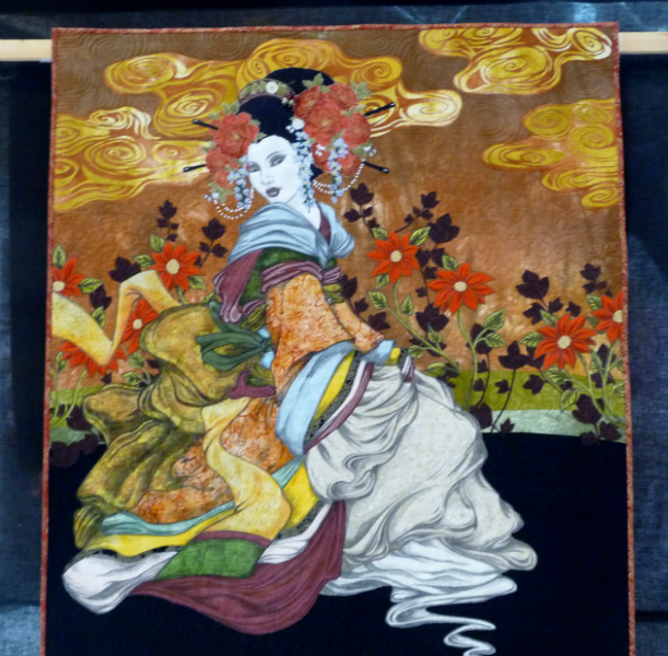 AMONG THE RED FLOWERS, winner of 3rd Prize Pictorial Quilts