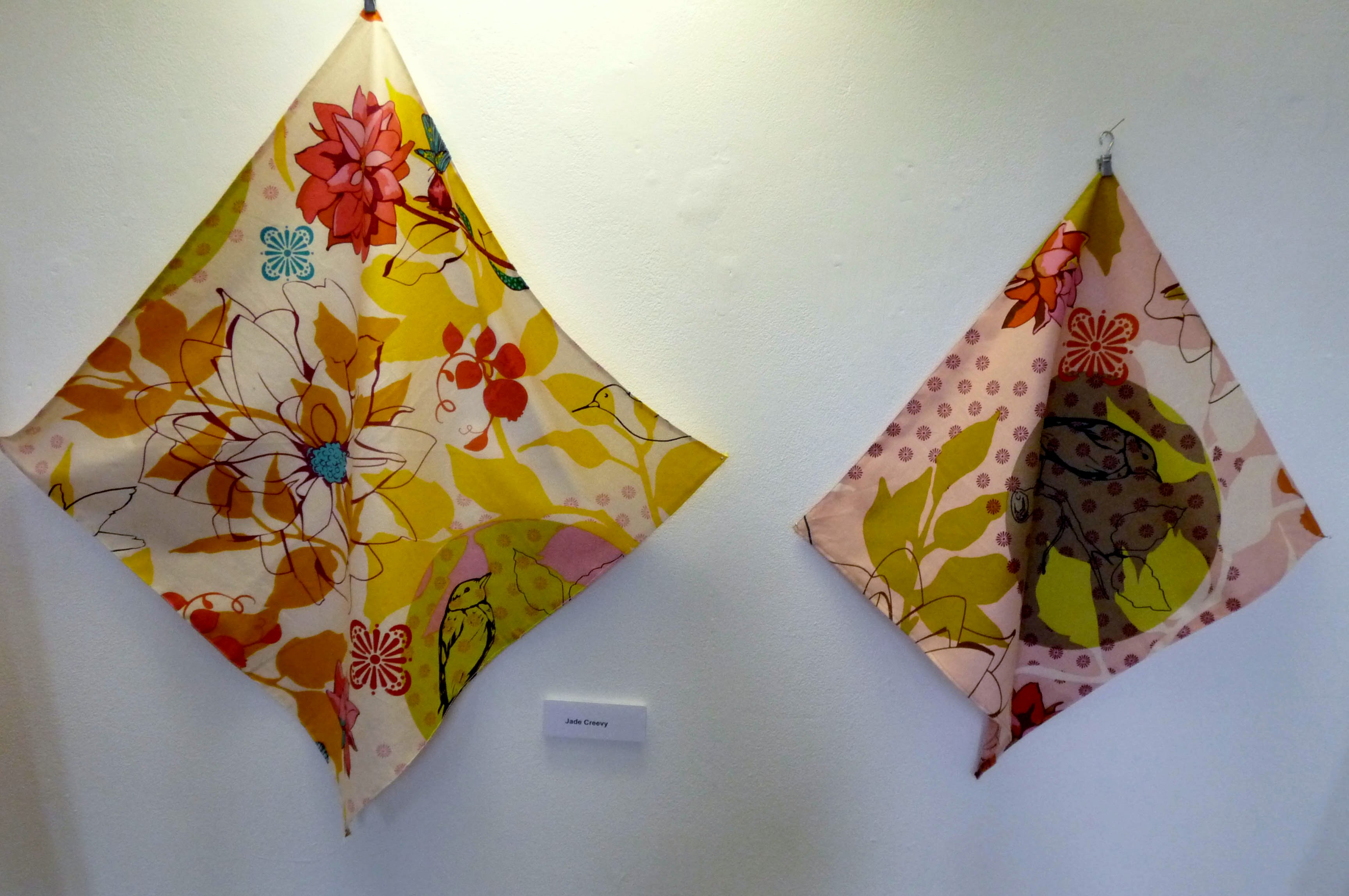 screen printed textiles by Emma Tansey, based on the work of Robin and Lucienne Day, paper cut overlaid on printed textile by Nicola Wallace, Liverpool Hope Univ Art Degree Show 2014