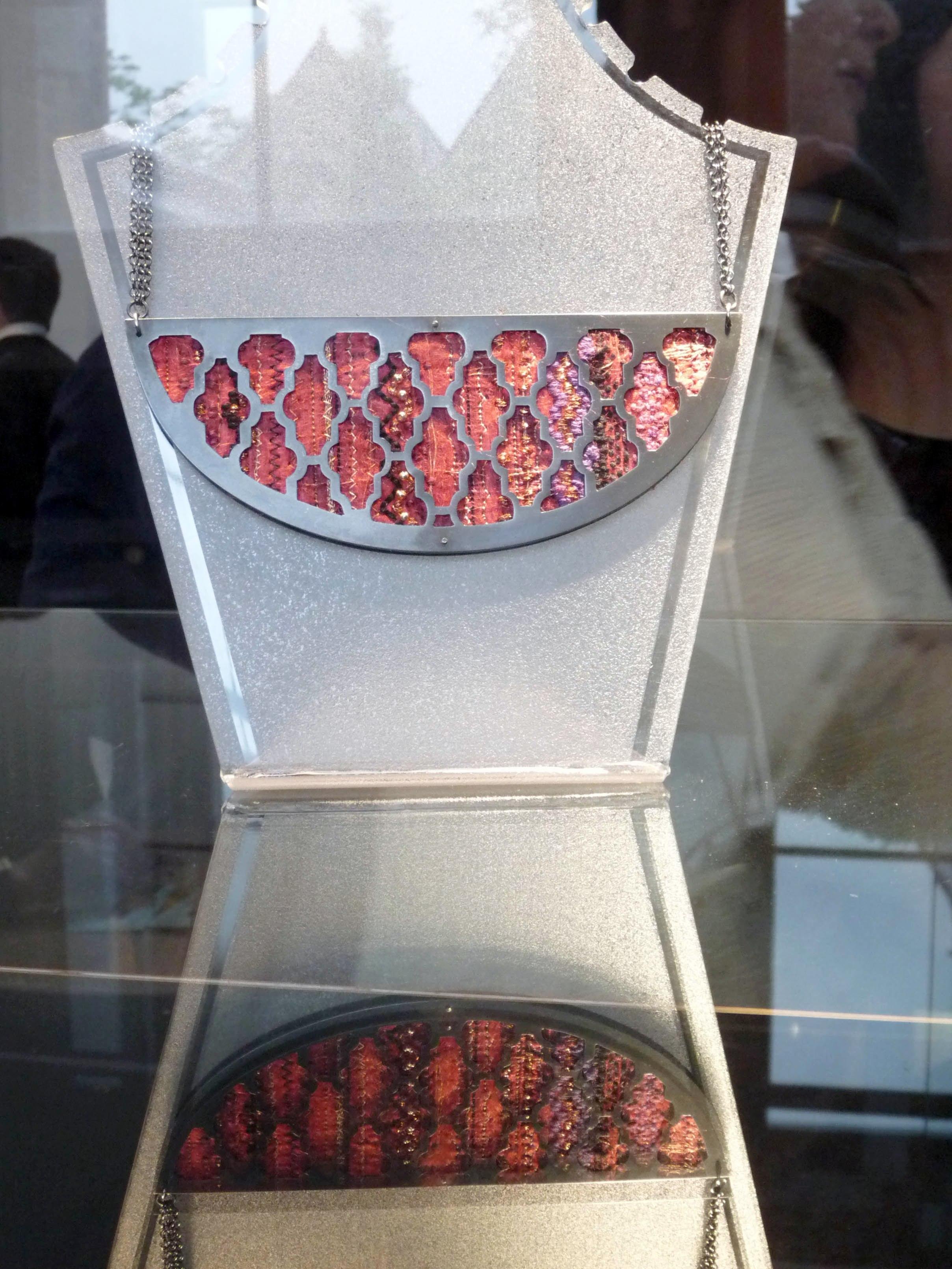 machine embroidery and metal jewellery by Gemma Blackburn, Liverpool Hope Univ Art Degree Show 2014