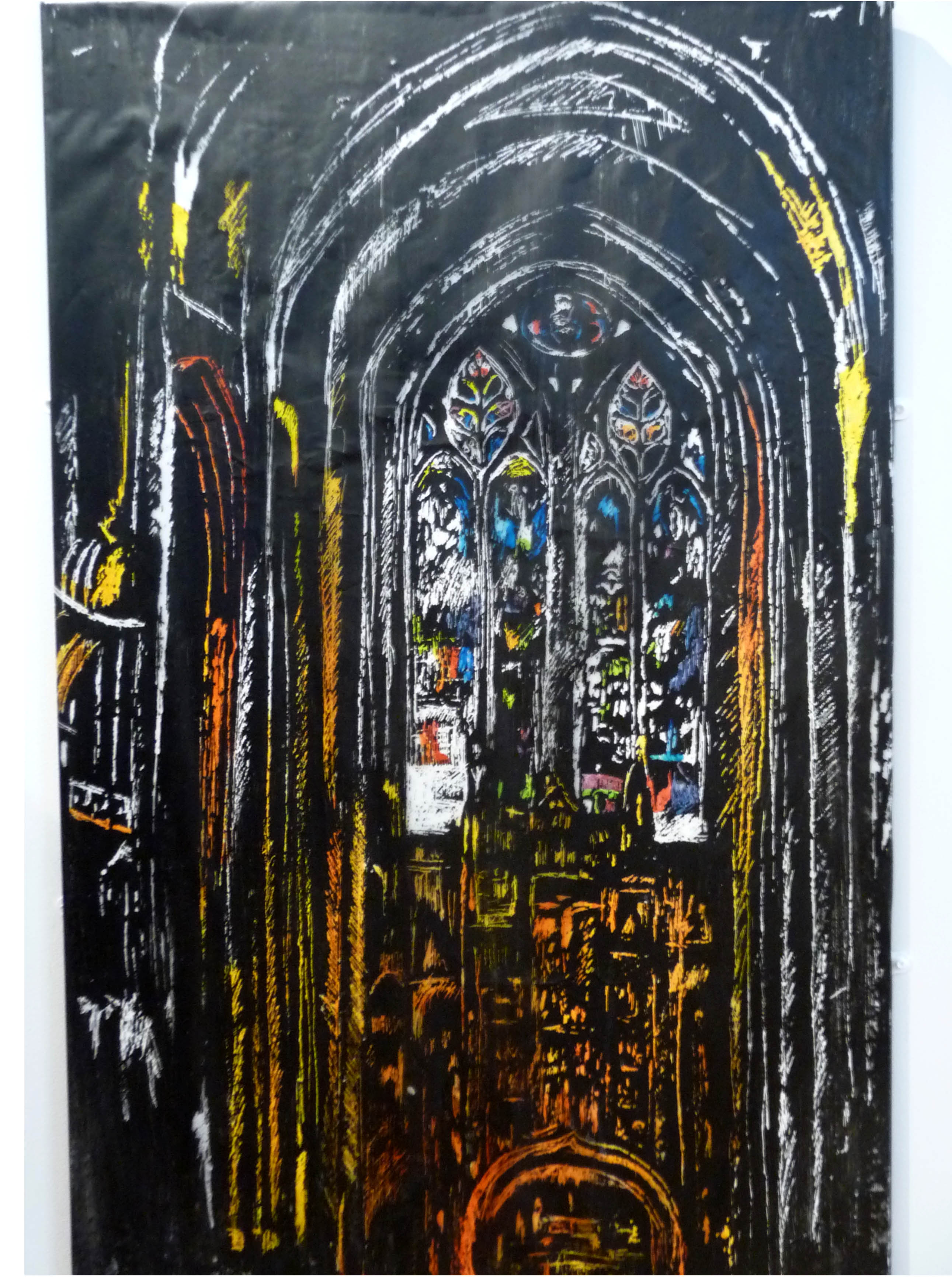 CHURCH INTERIOR, acrylic, by Elizabeth Cavanagh, Liverpool Hope Univ Art Degree Show 2014