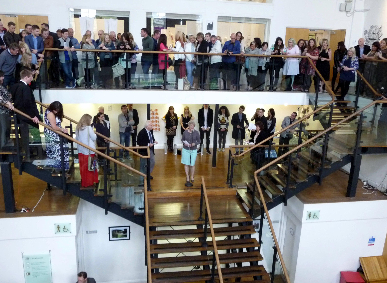 Kim Parkman presenting a prize on behalf of Liverpool Women's Hospital at Liverpool Hope Univ Art Degree Show 2014