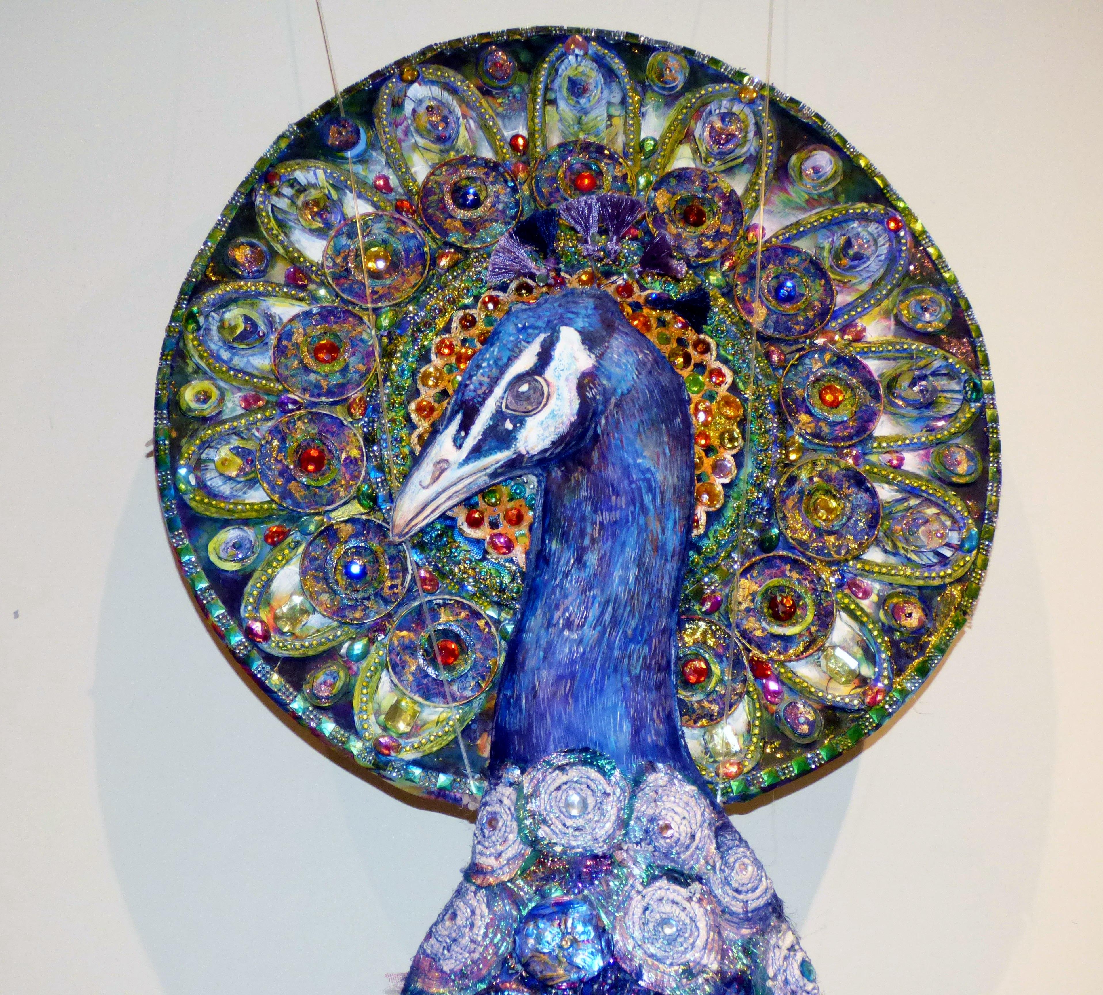 (detail) THE SILK PEACOCK by Nikki Parmenter, Gawthorpe Hall, Sept 2020