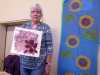 """Ann Cornes with some of her prints, """"From Plain to Printed"""" print Workshop with Anne Cornes, April 2019"""