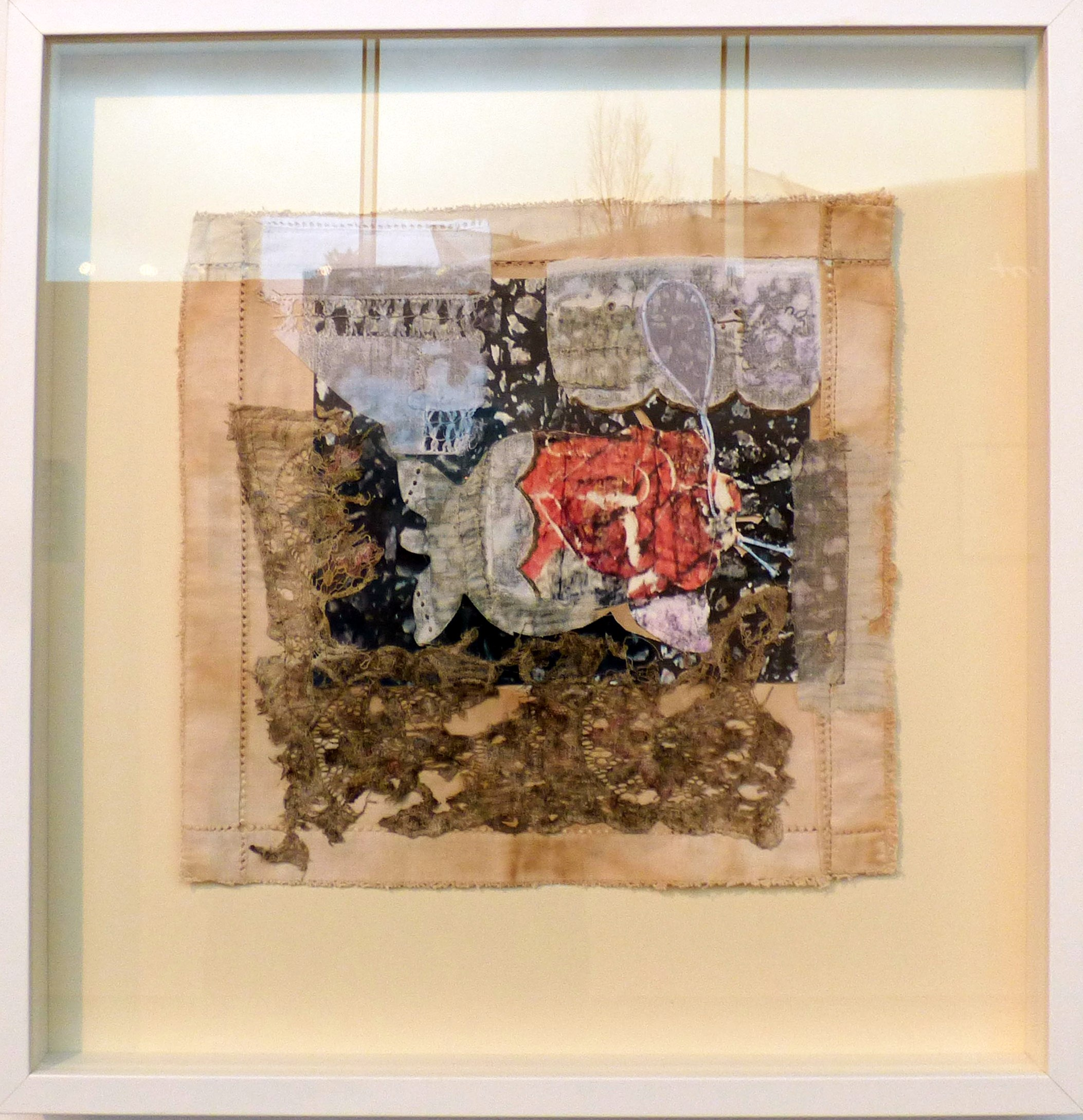 A ROSE BY ANY OTHER NAME WOULD SMELL AS SWEET by Sarah Feinmann, mixed media. From The Heart exhibition, St Helens, Feb 2020