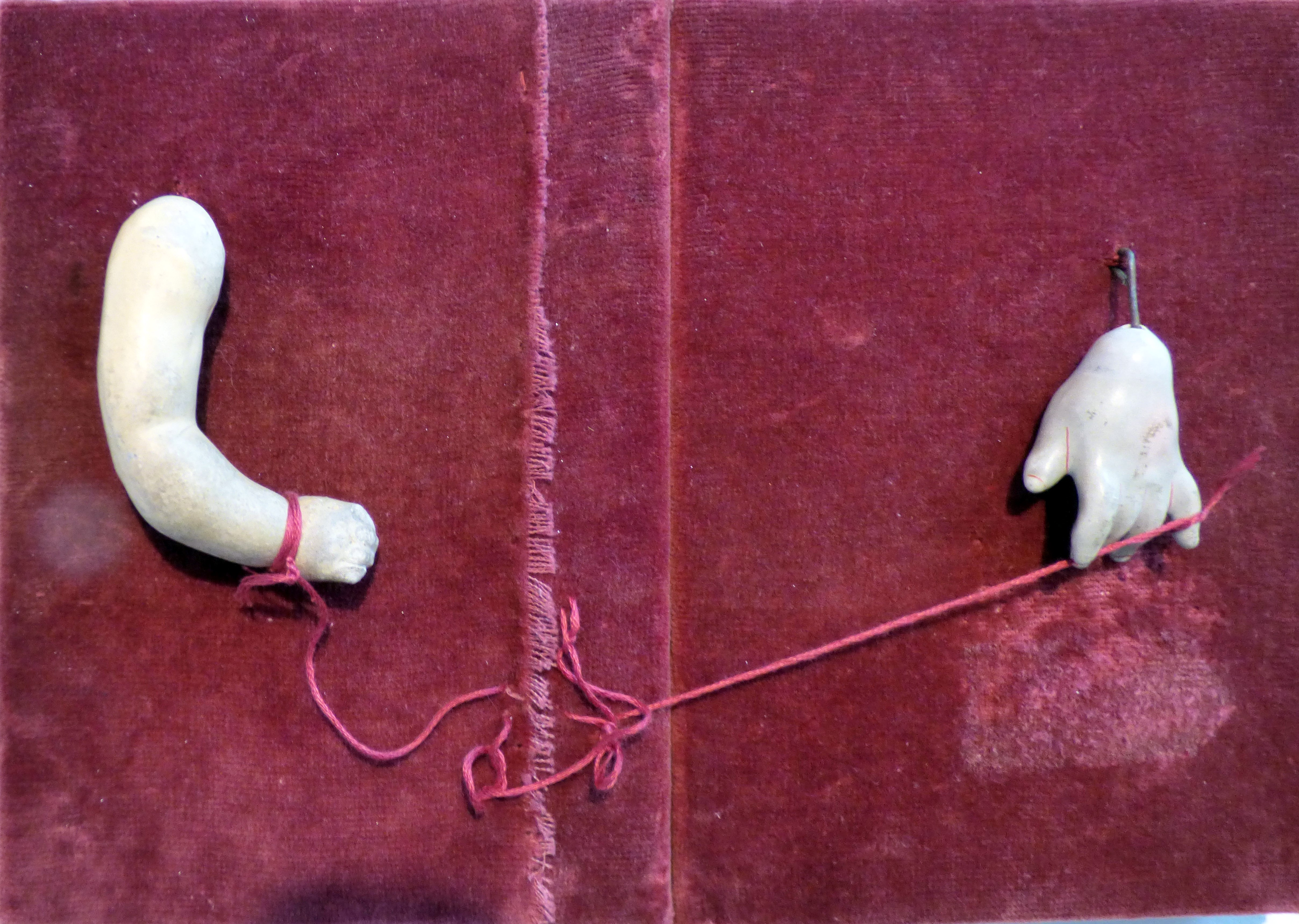 THE RED STRING OF FATE by Paula Fenwick Lucas, assemblage. From The Heart exhibition, St Helens, Feb 2020