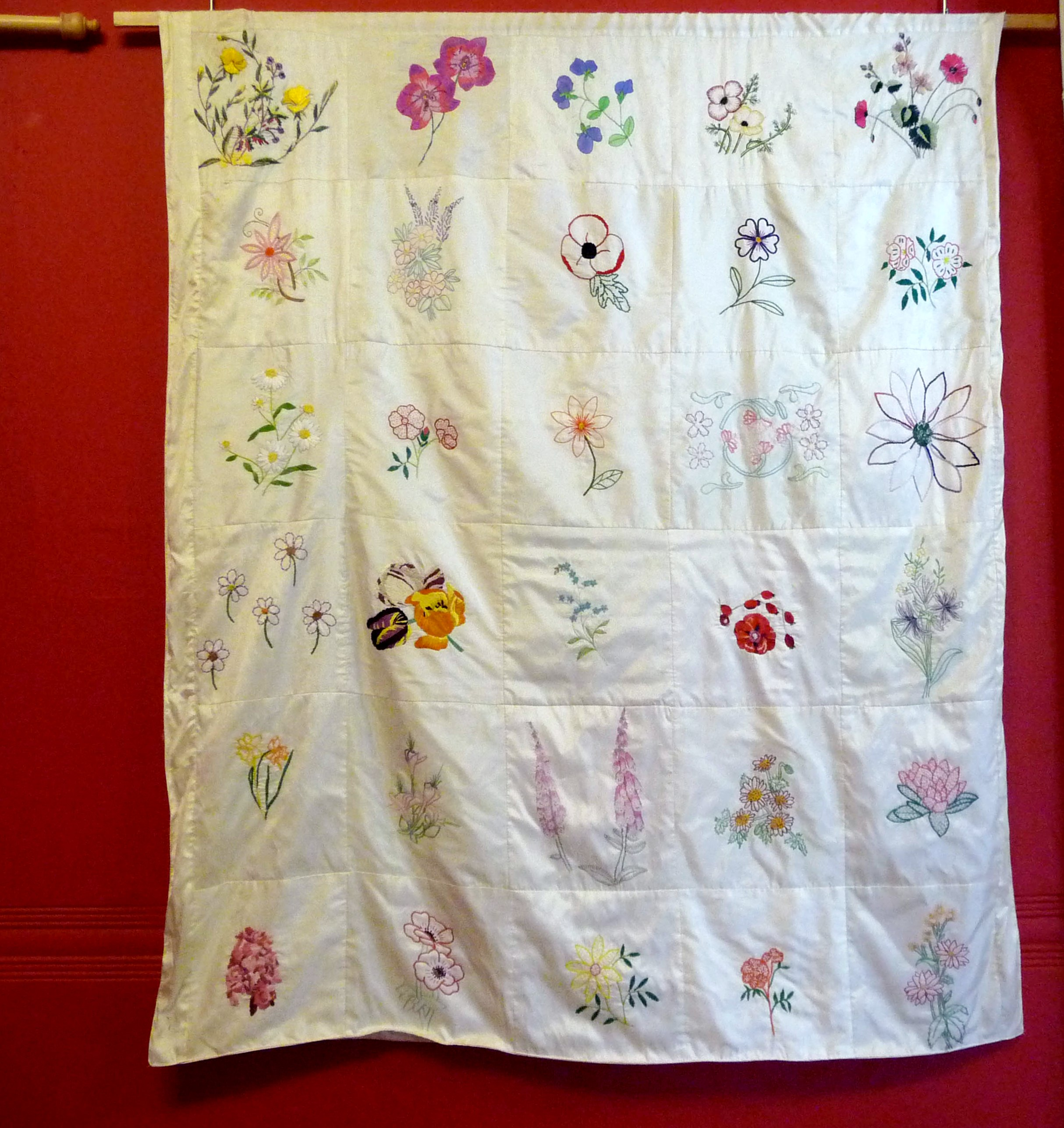 FLOWER QUILT, 2014, by Ruby Porter MBE, members of Embroiderers Guild & women of Sreepur Village, Bangladesh