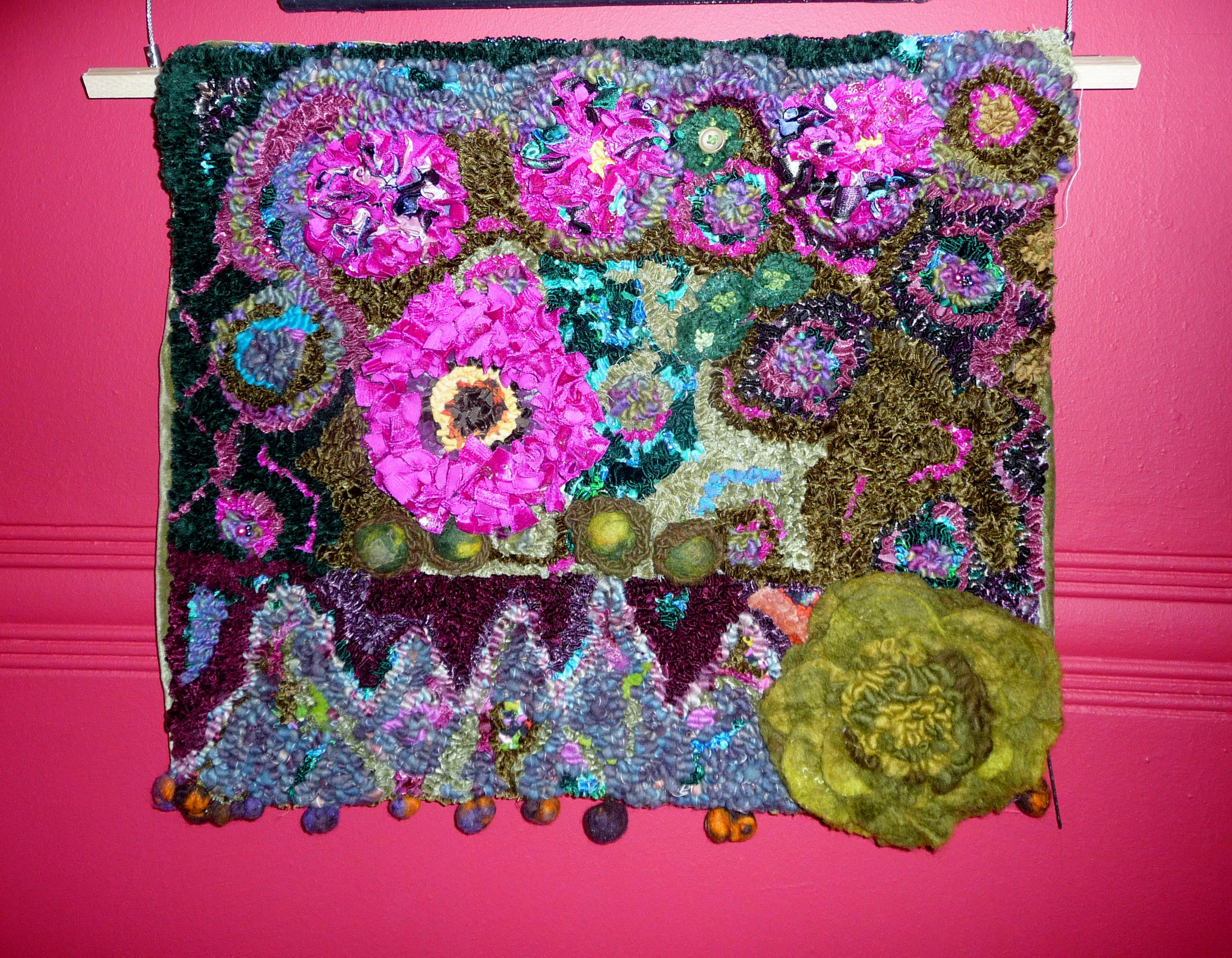 ALLOTMENT, 2014, by June Howard, rag rugging and beads
