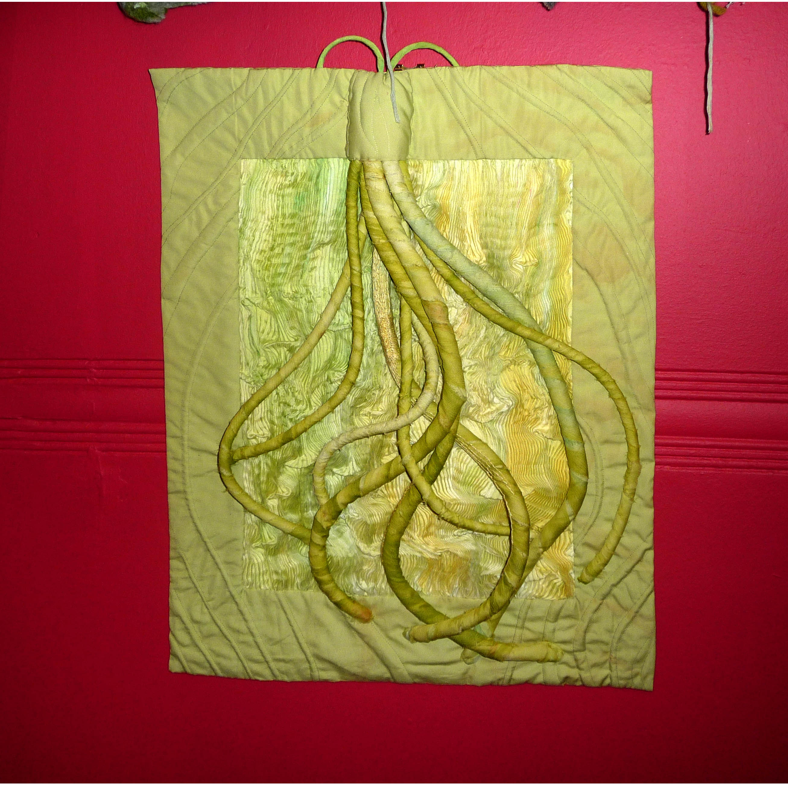 VINES, 2010, by Ann Rogers, pleating,wrapping & quilting