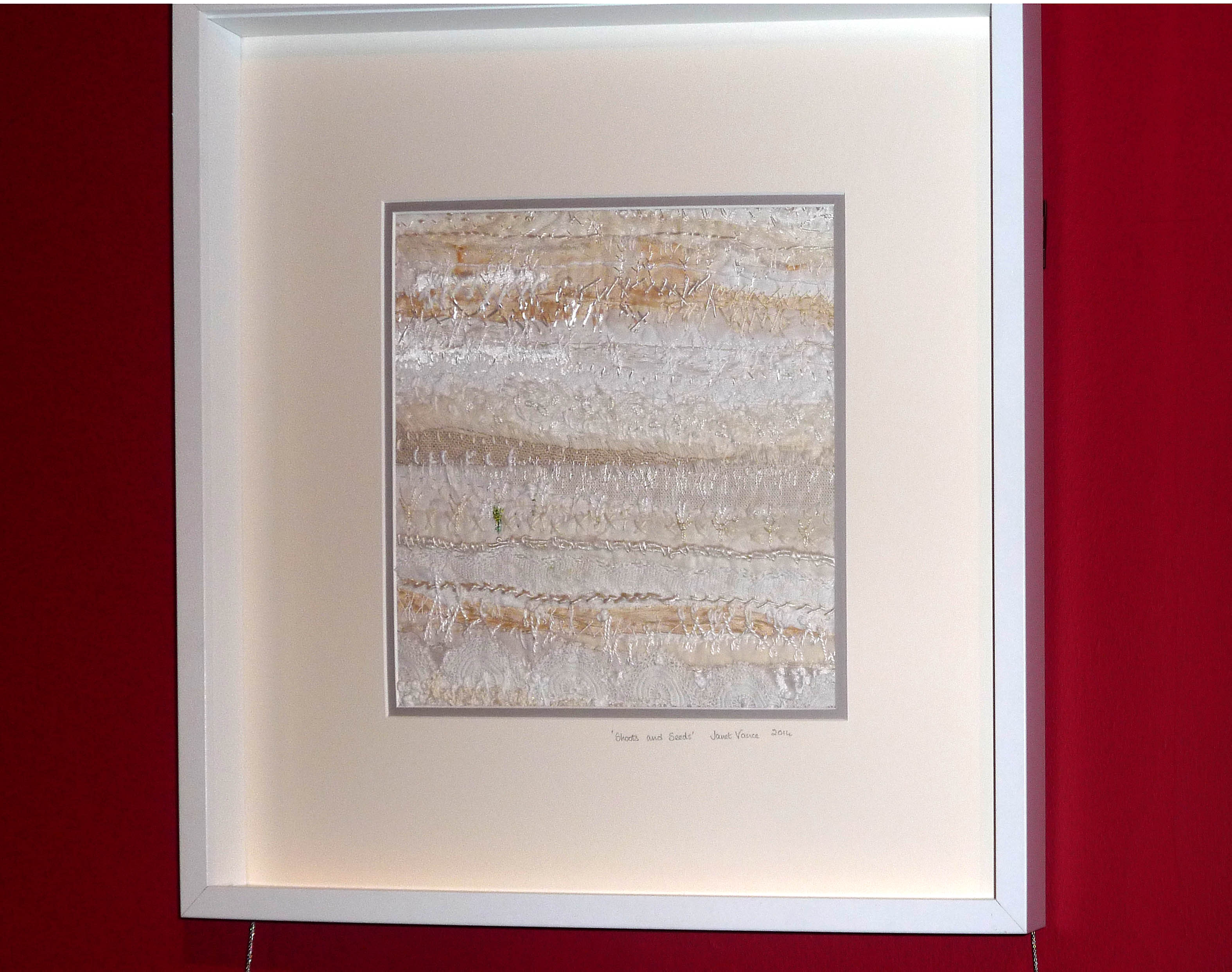 SHOOTS and SEEDS, 2014, by Janet Vance, silk & cotton strips on canvas