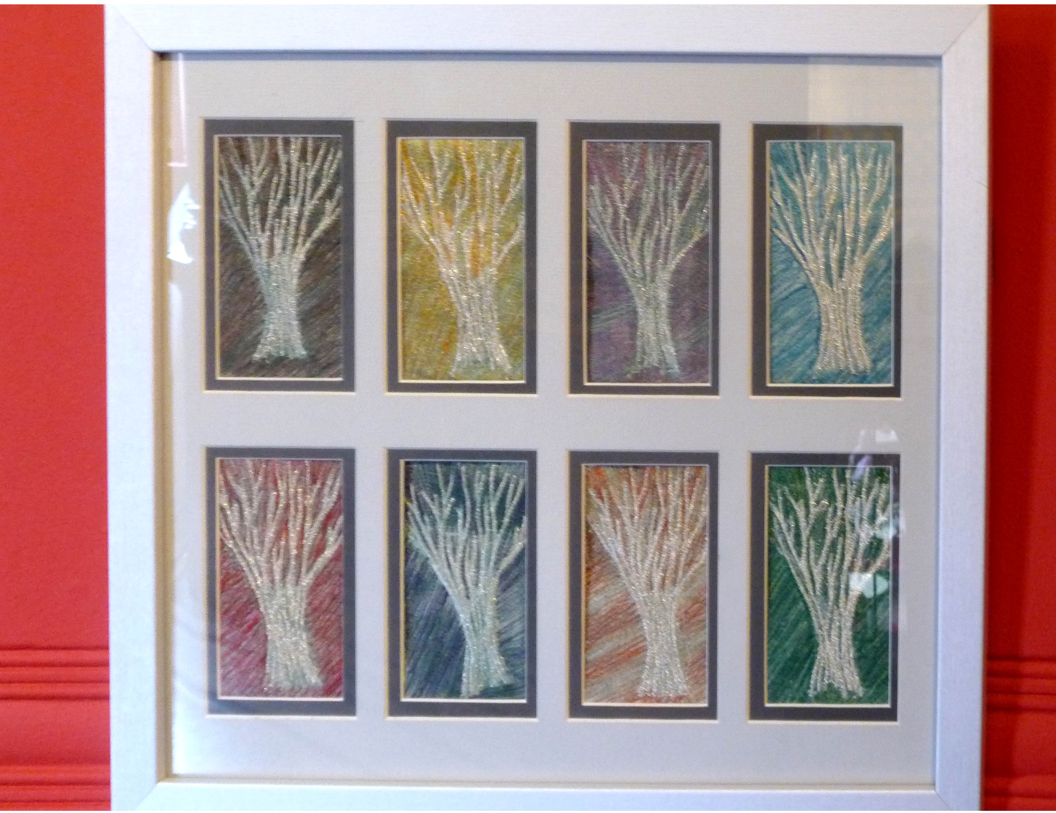 TREES-A STUDY OF COLOUR, 2013, by Gill Roberts, hand stitching
