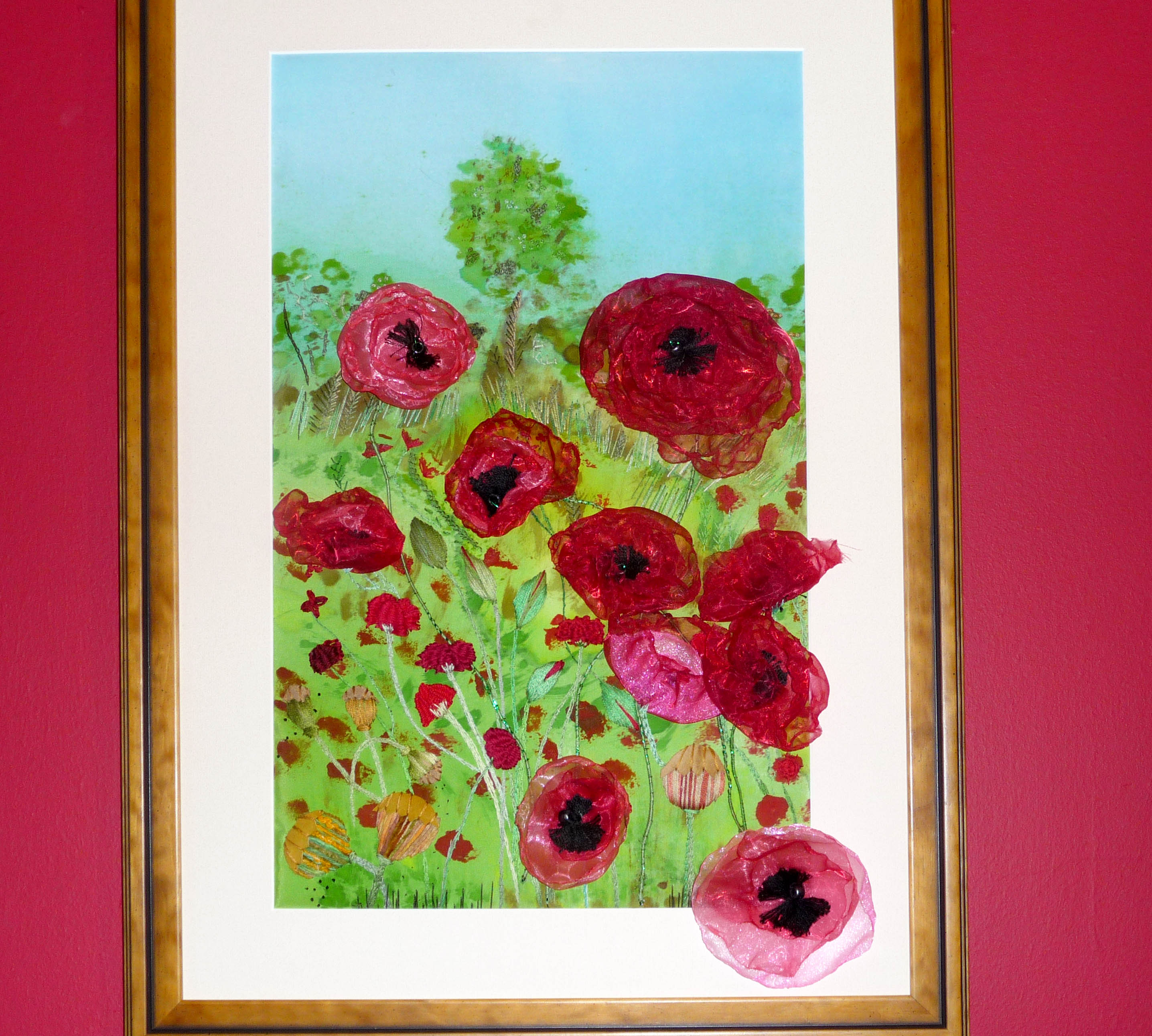 POPPIES, 2014, by Vicky Williams, hand embroidery with applied fabrics