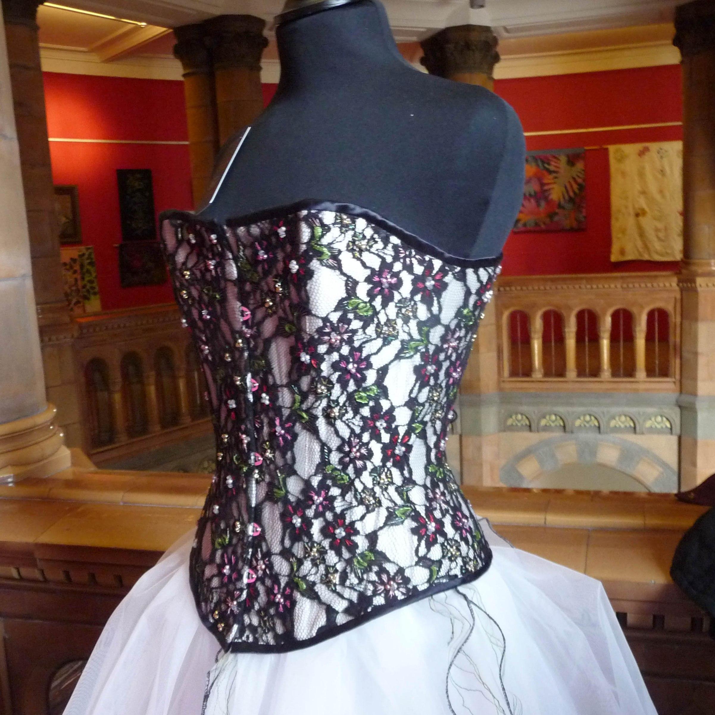 CORSET (detail), 2014, Gill Roberts & Belladonna, free machine, beads & bespoke