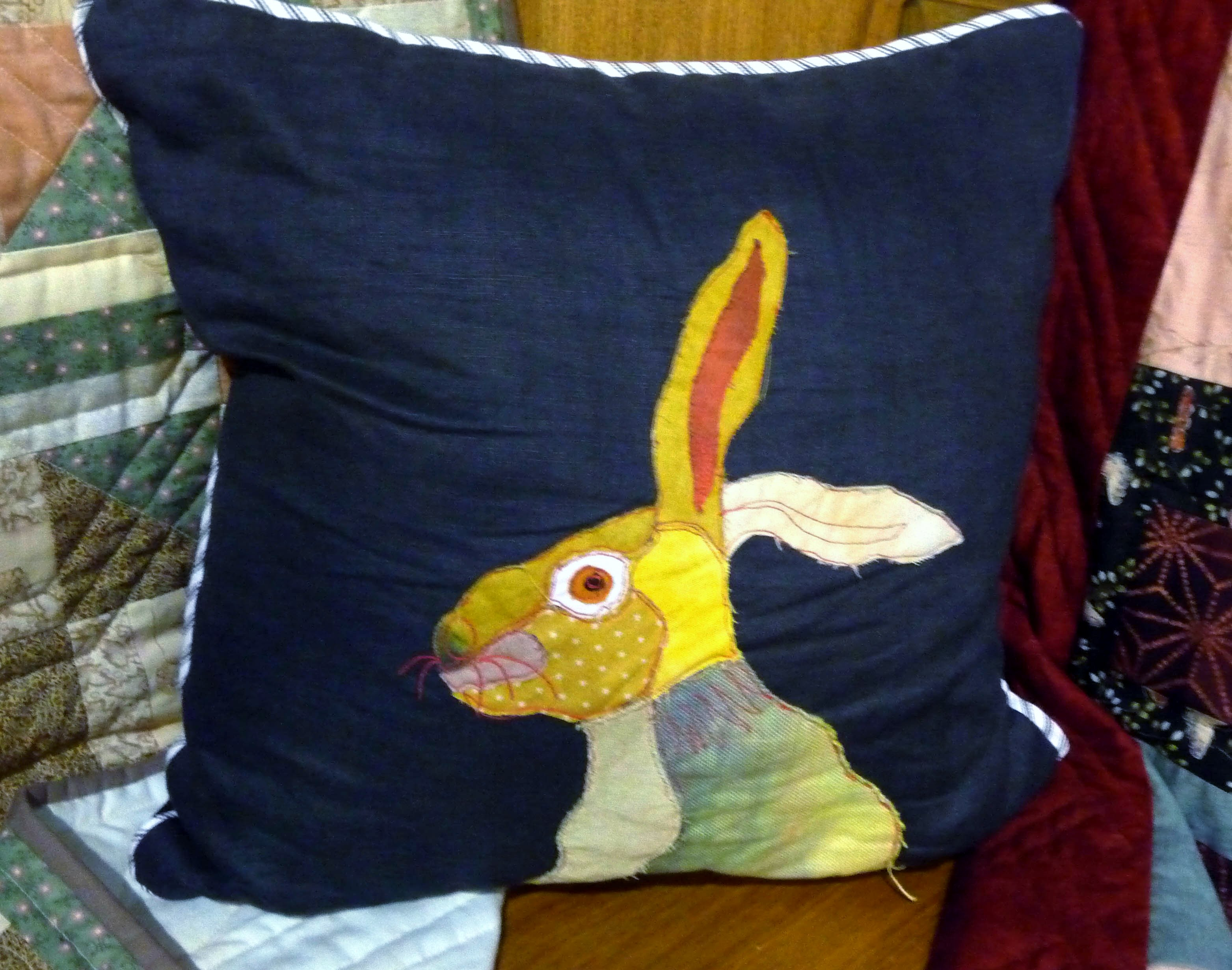 Applique cushion by Jean Kewsley, Stitchin' Sisters Group