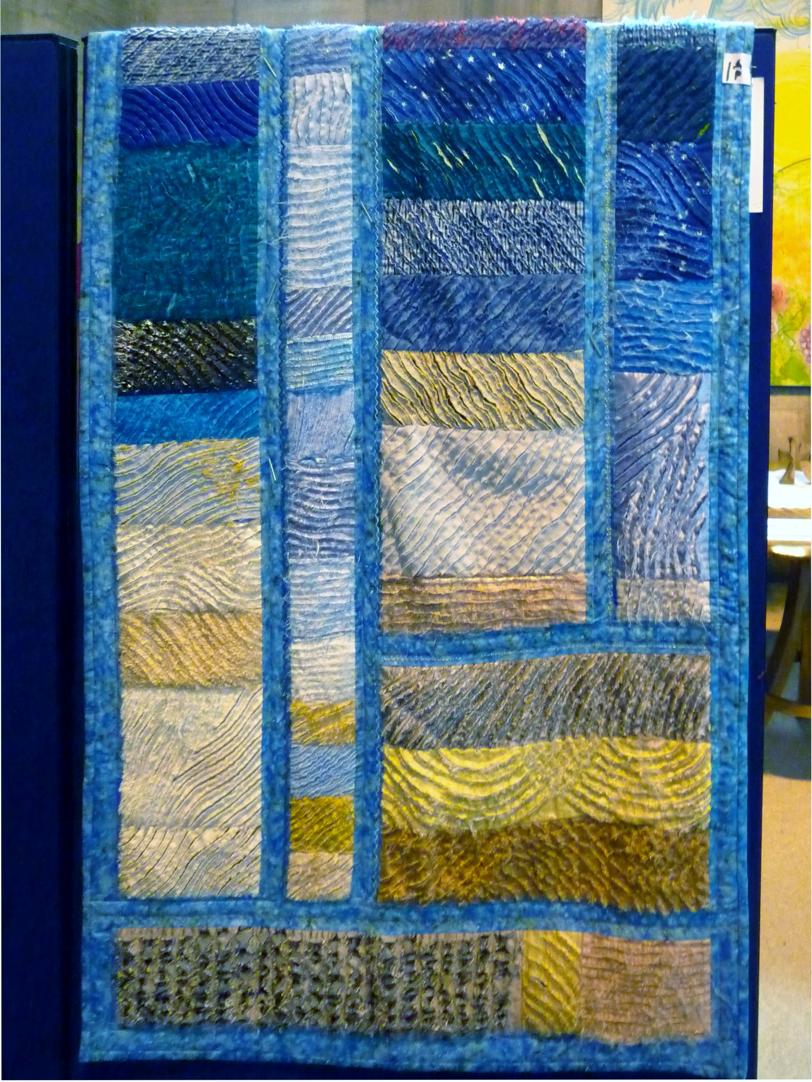 Chenille quilt made by Norma Heron, Allerton Piecemakers Group