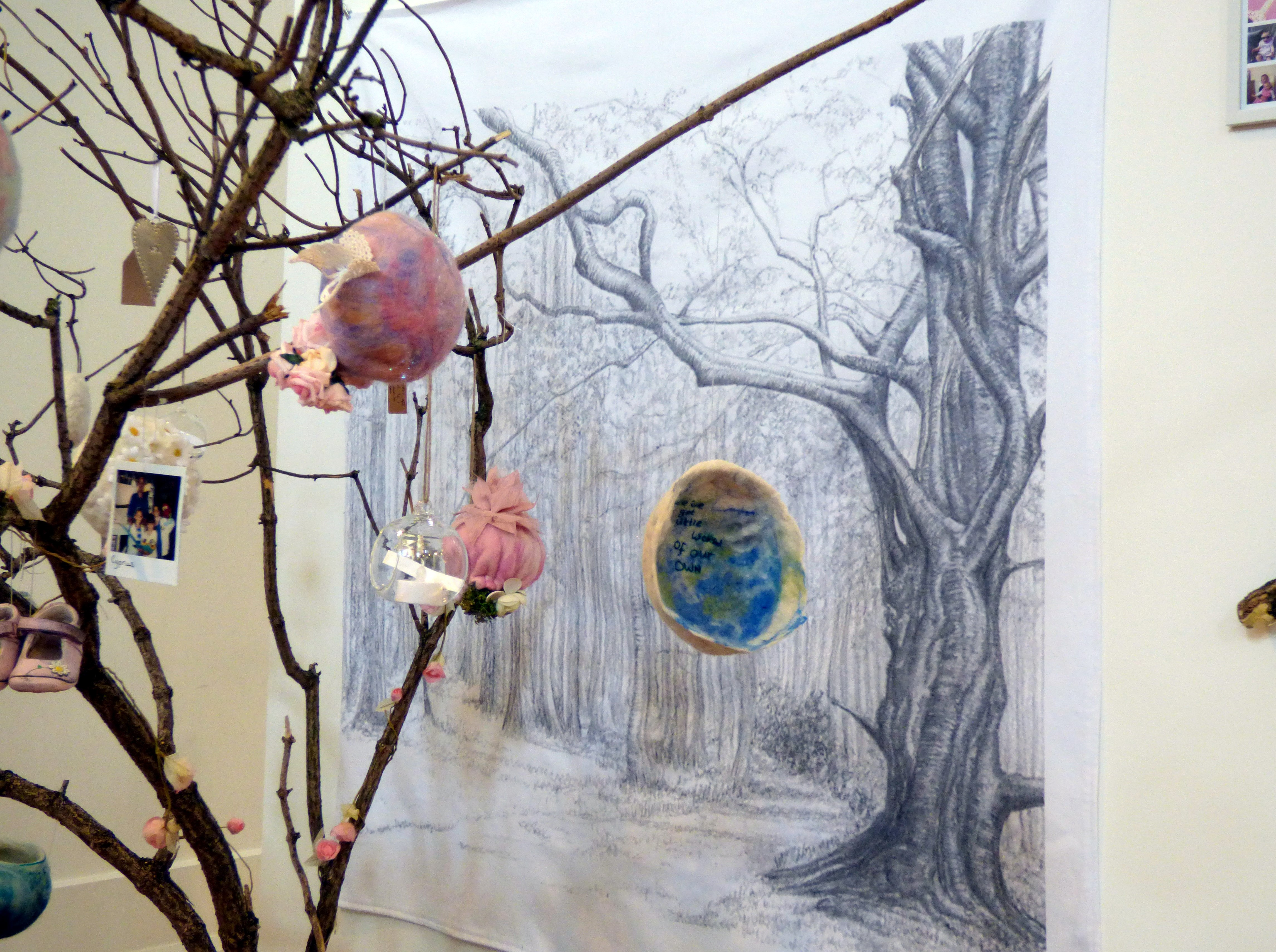 textiles based on memories by Laura Winrow at Hope Univ Degree Show 2017