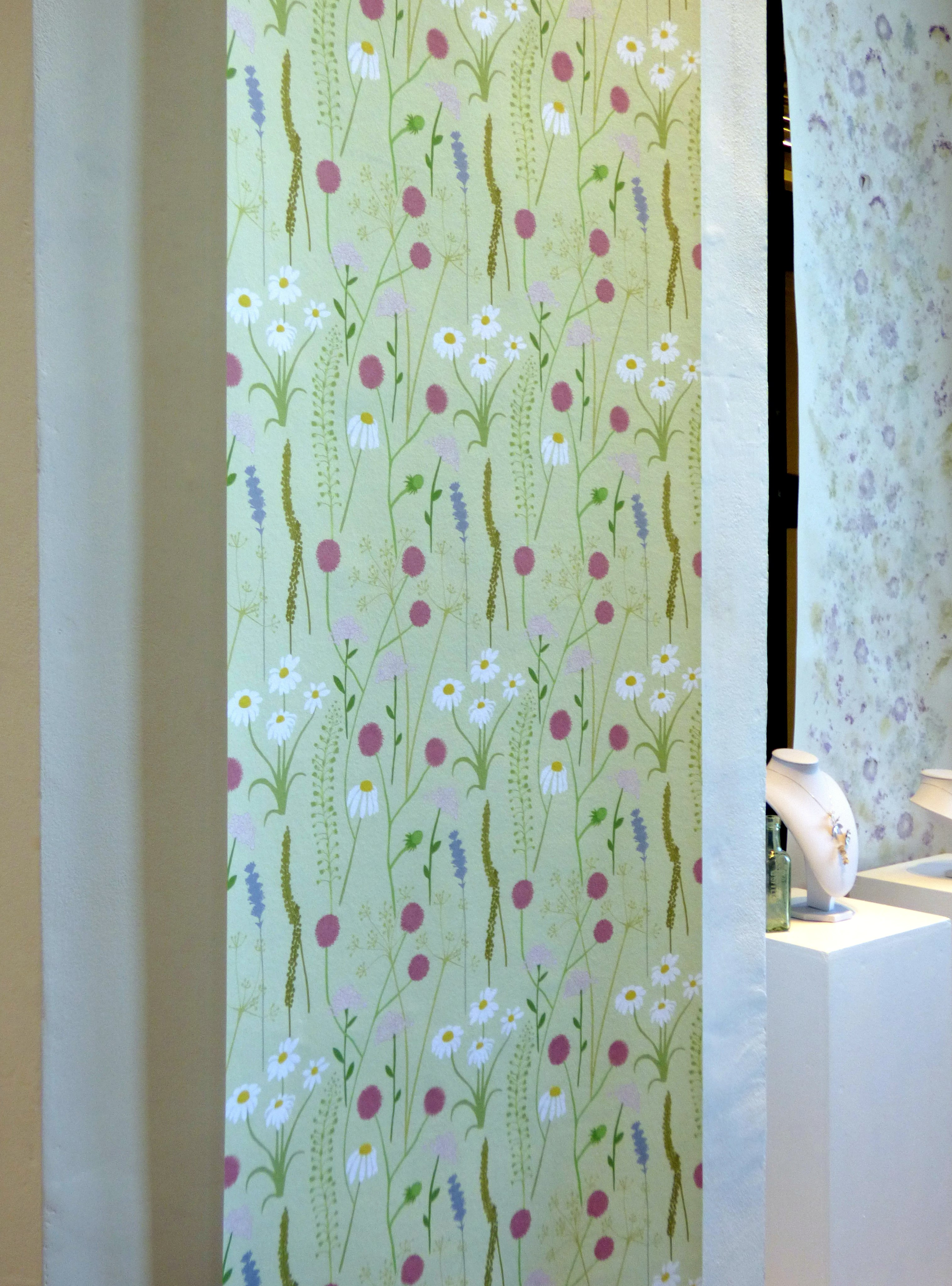 wallpaper designs based on wildflowers by Grace Scullen at Hope Univ Degree Show 2017