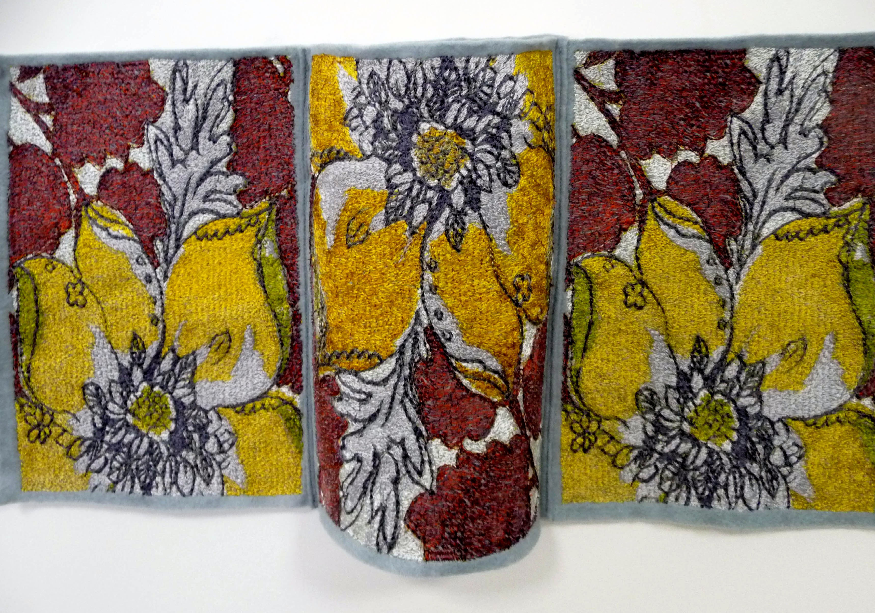 embroidery by Fiona Rainford, based on pattern books in Lancashire Archives, machine embroidery