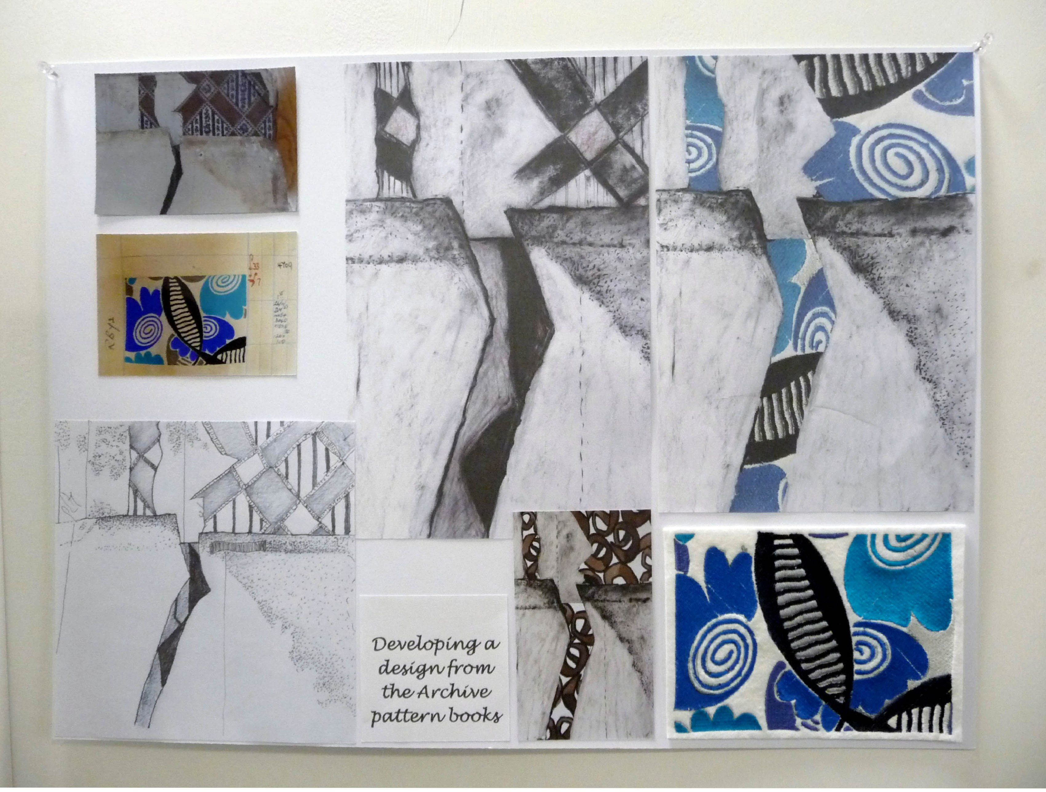 design page by Fiona Rainford based on patterns in Lancashire Archives
