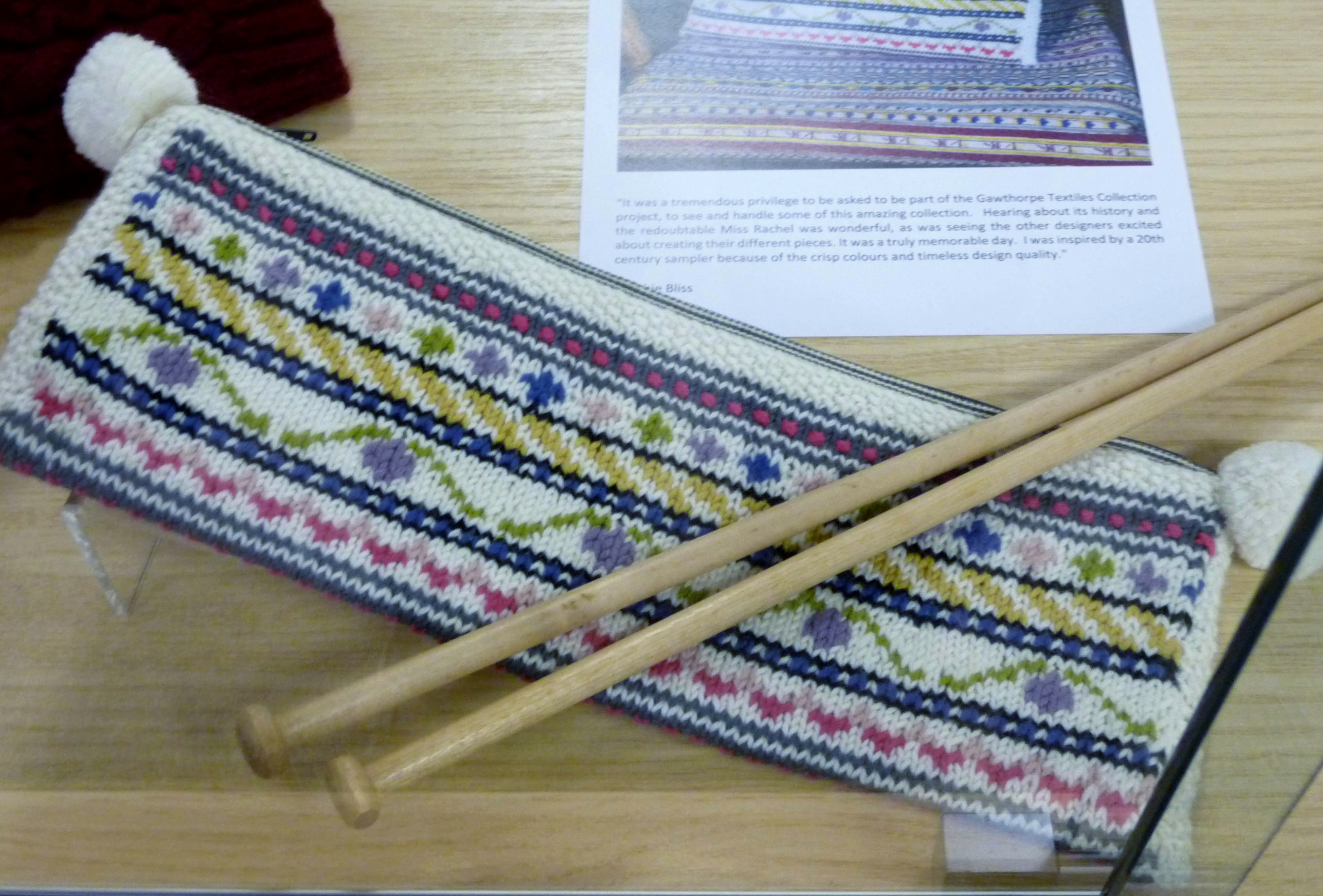 KNITTED NEEDLE CASE by Debbie Bliss, inspired by by a 20th century sampler in the Rachael Kay Shuttleworth collection in Gawthorpe Hall