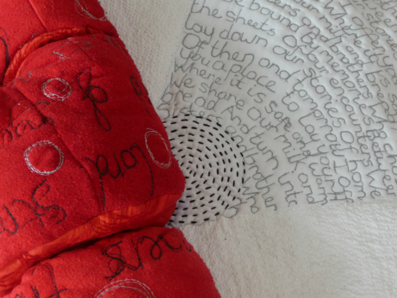 BETWEEN THE SHEETS by Diana Heredia, Stewart Kelly, Susan Beck, cotton, wadding, embroidery silk, silk fabric, thread (detail)